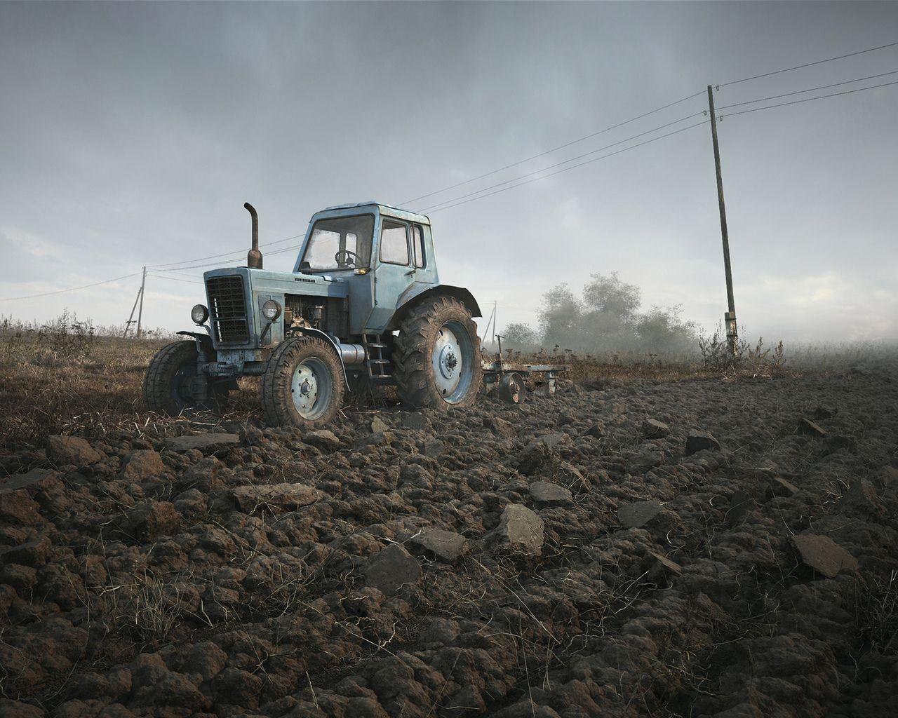 Download wallpaper field, belarus, tractor, the sky, 3d with ...