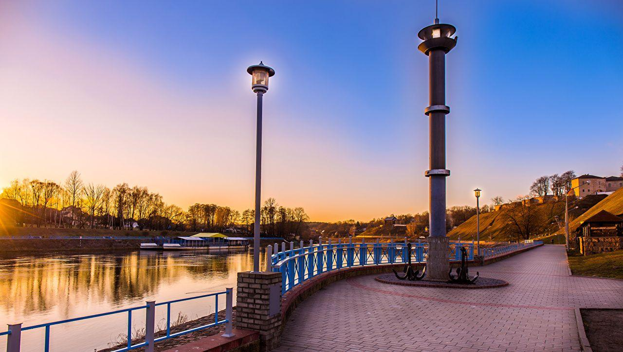 Belarus Monuments Grodno Coast Rivers Street lights Cities