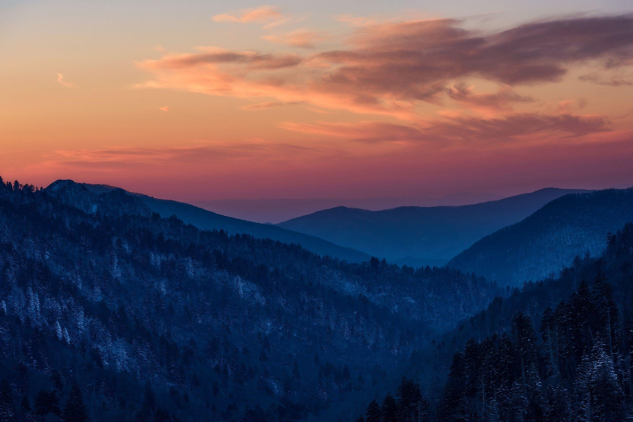 Morton Overlook Sunset, Great Smoky Mountain National Park HD ...
