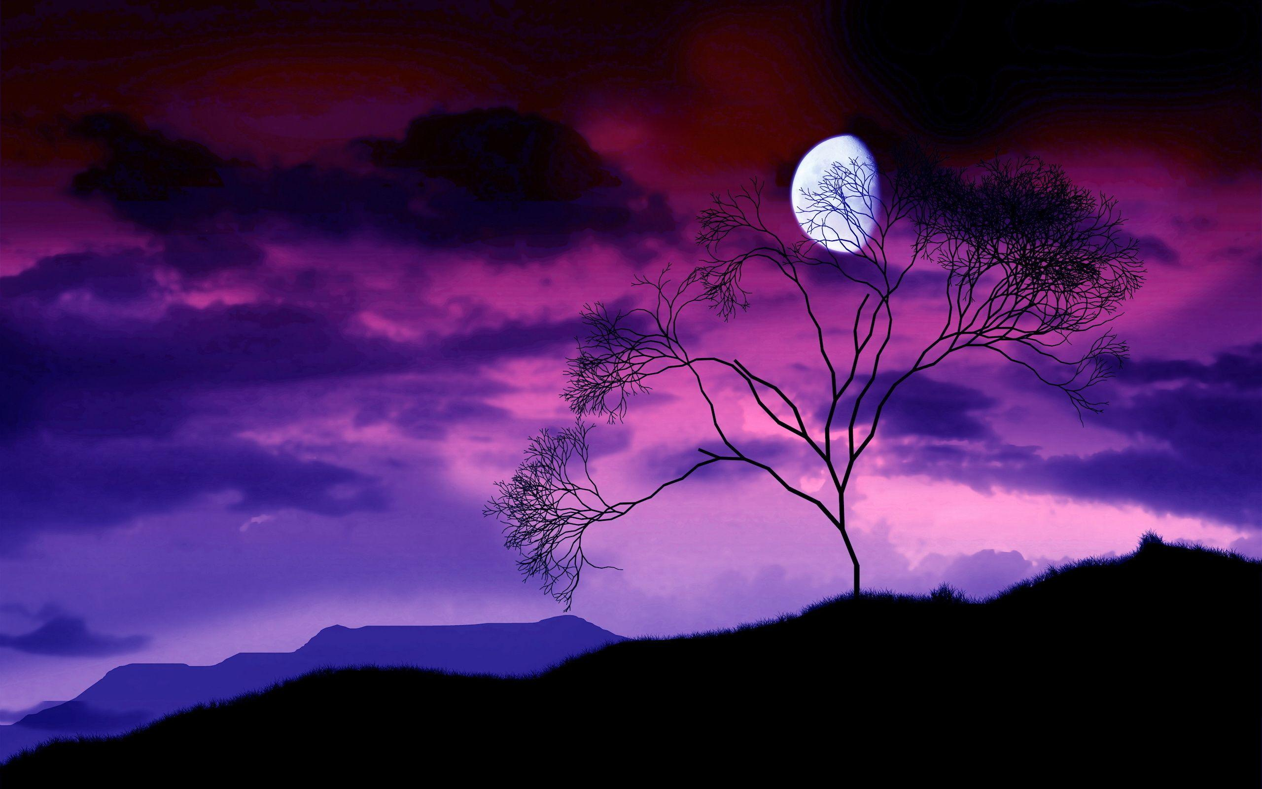 Artistic night scene of a gibbous moon in a sky with purple and ...