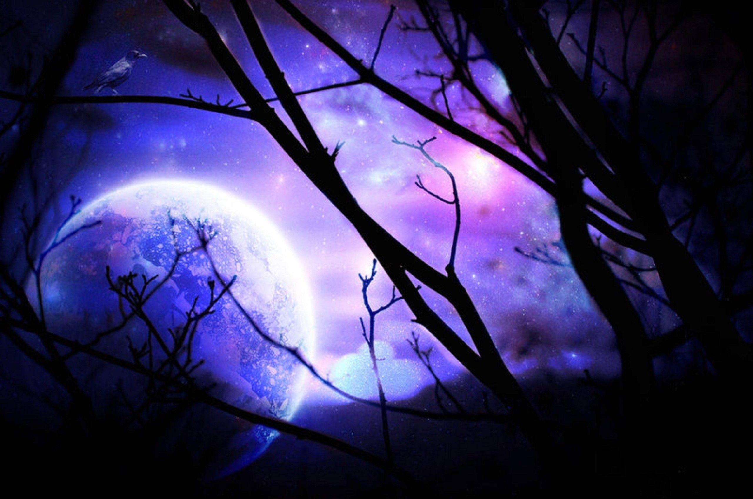 Purple night wallpapers wallpaper cave - Purple moon wallpaper ...