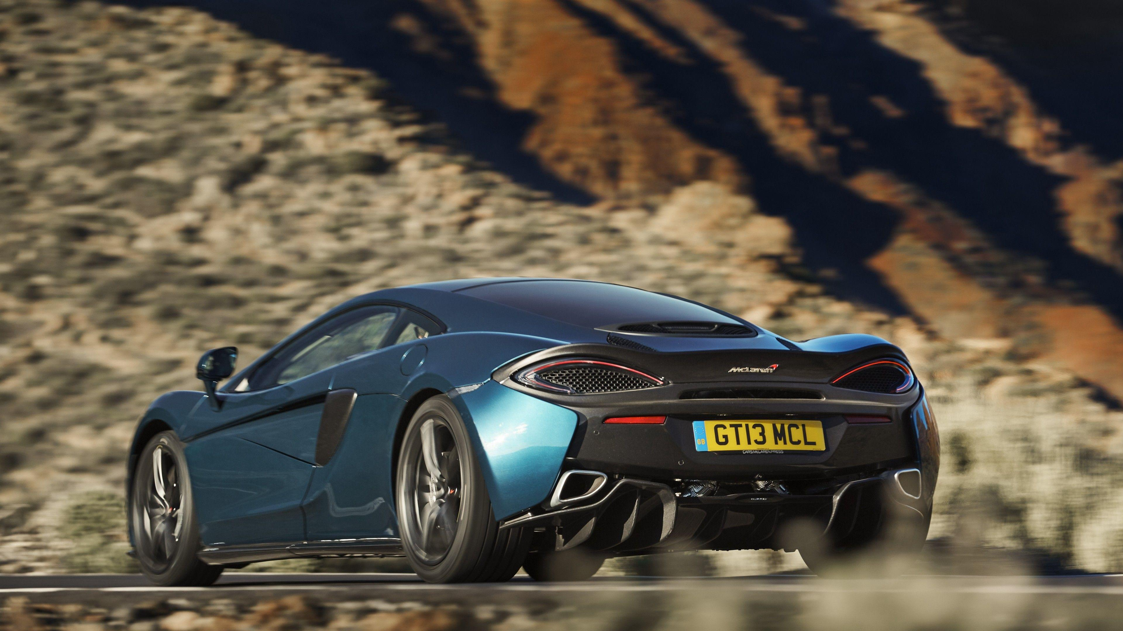 Download 3840x2160 Mclaren 570gt, Back View, Black And Blue, Cars ...