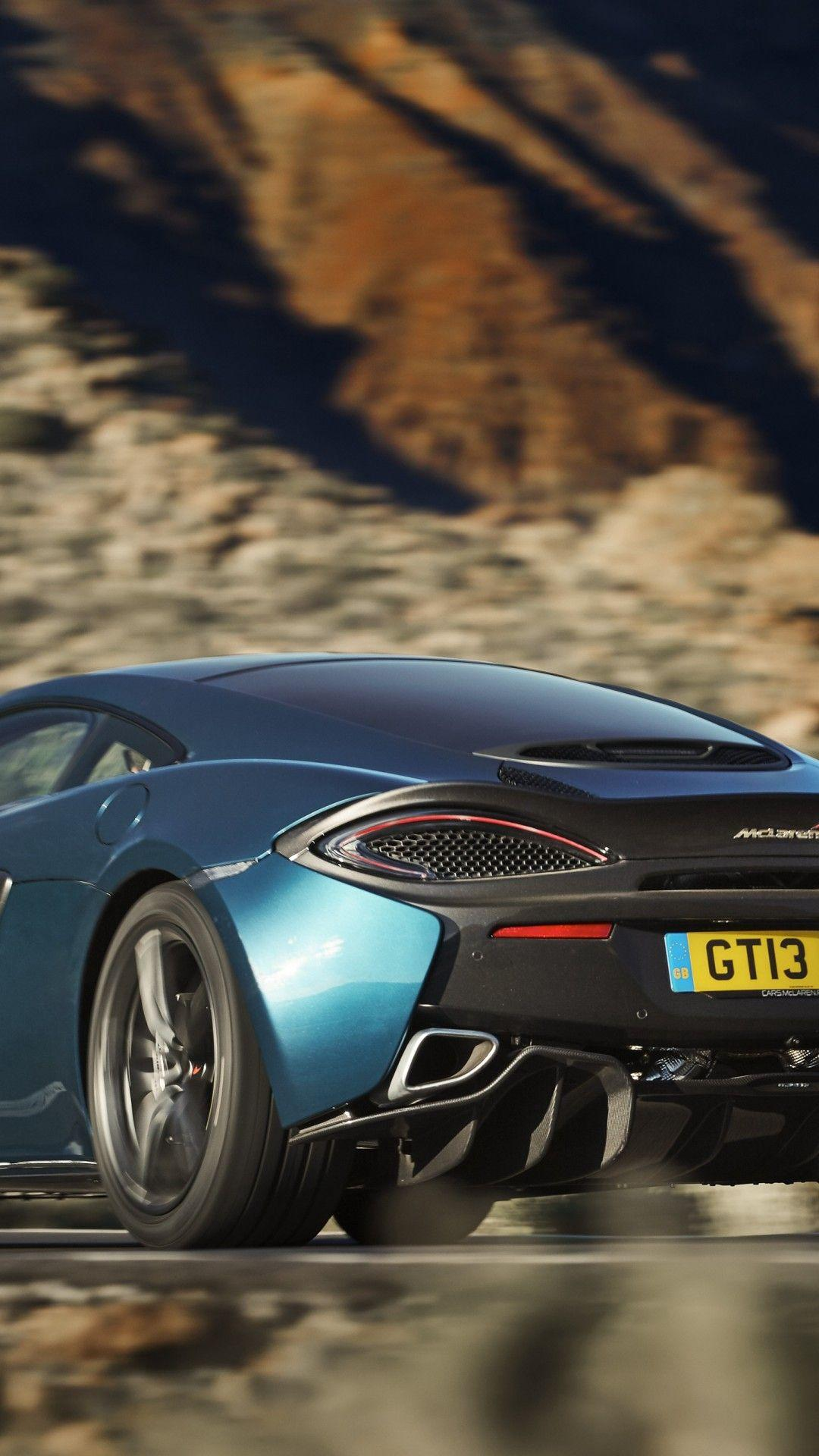 Download 1080x1920 Mclaren 570gt, Back View, Black And Blue, Cars ...