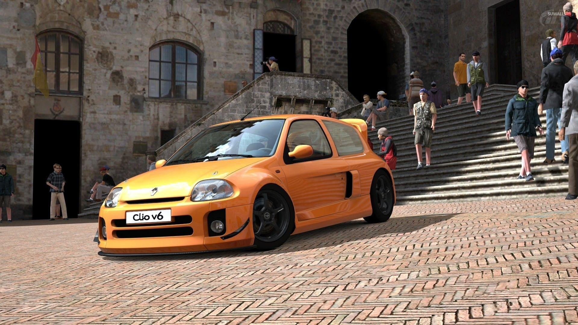 2013 Yellow Renault Clio RS 200 side view wallpapers