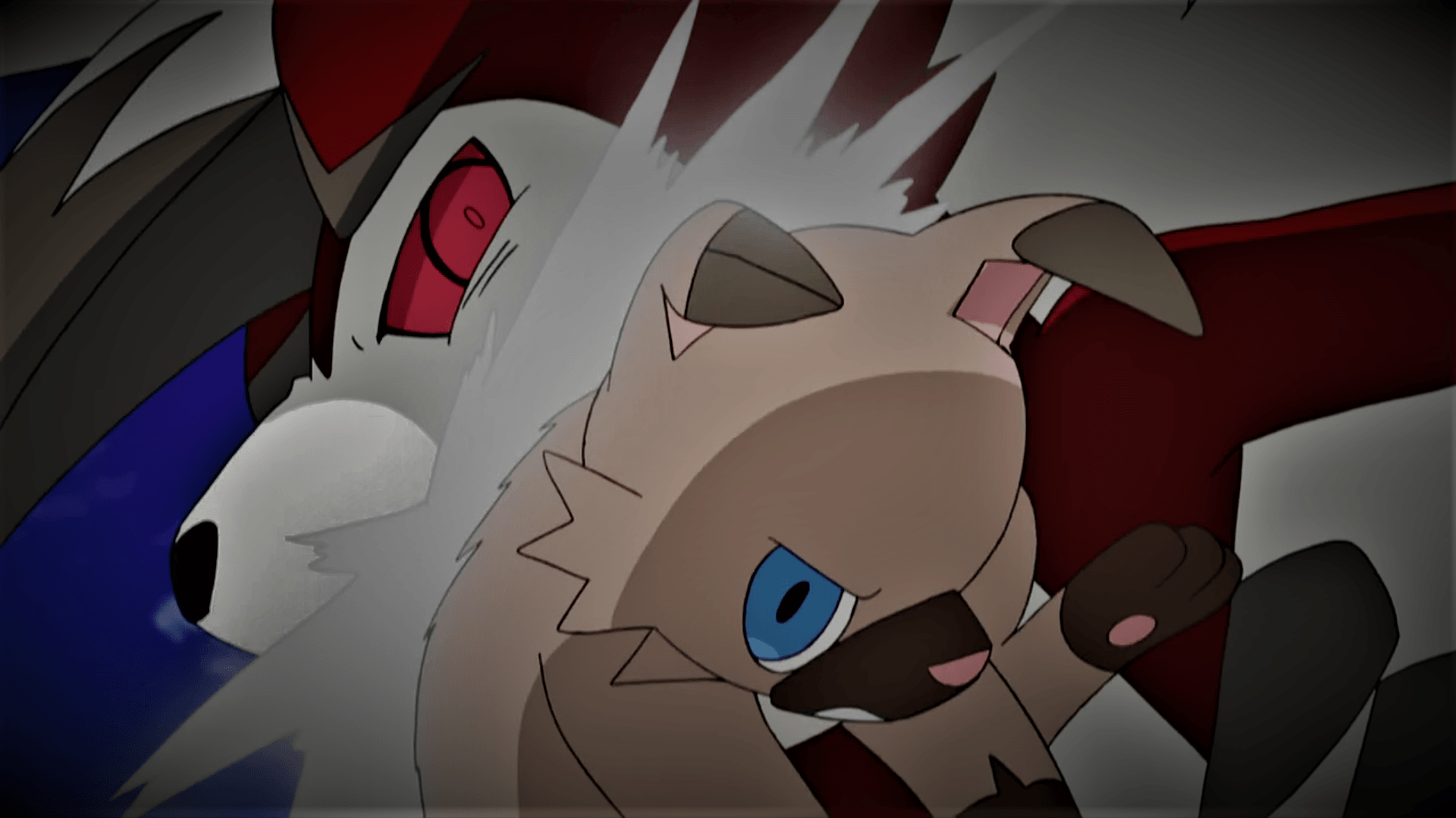 Rockruff battling Lycanroc (Midnight Form) by Pokemonsketchartist ...