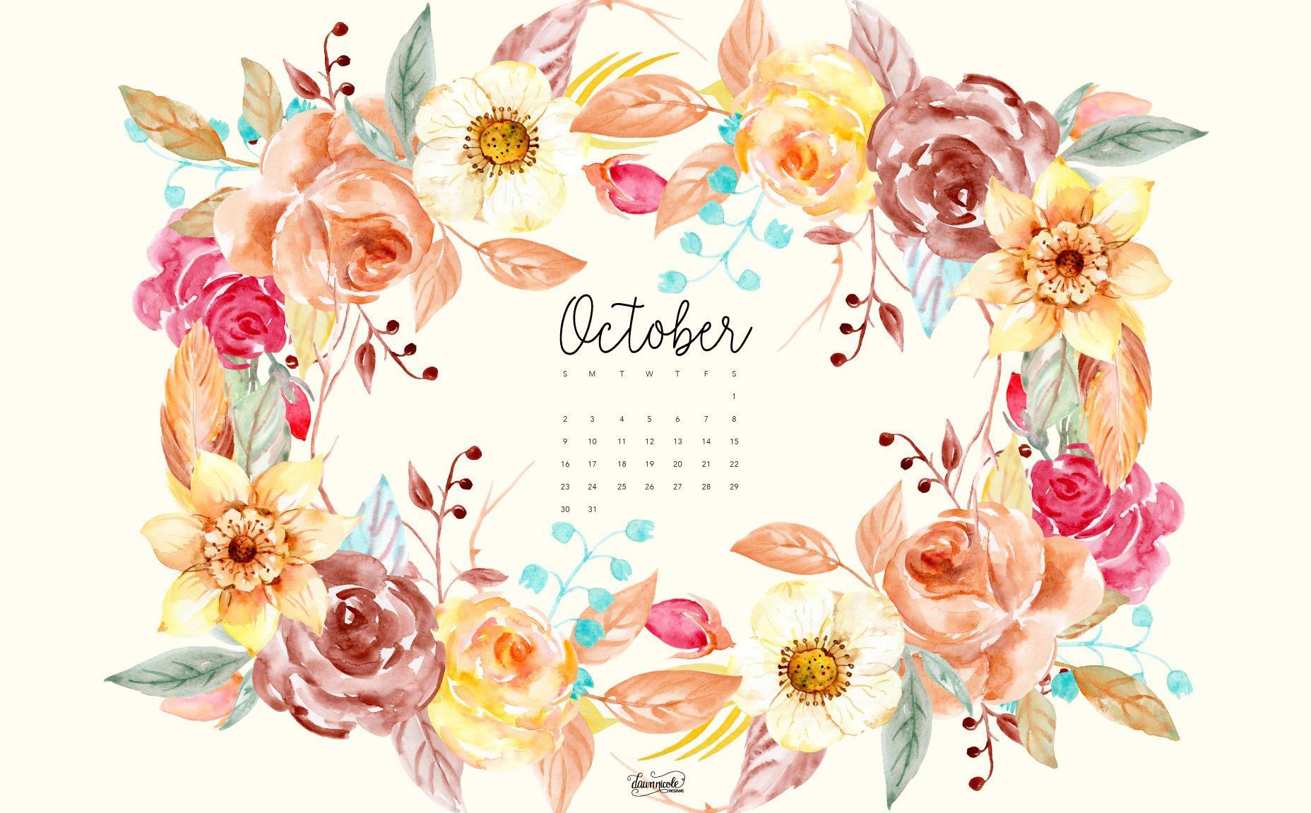 Calendar 2017 October Flowers – Printable Editable Blank Calendar 2017