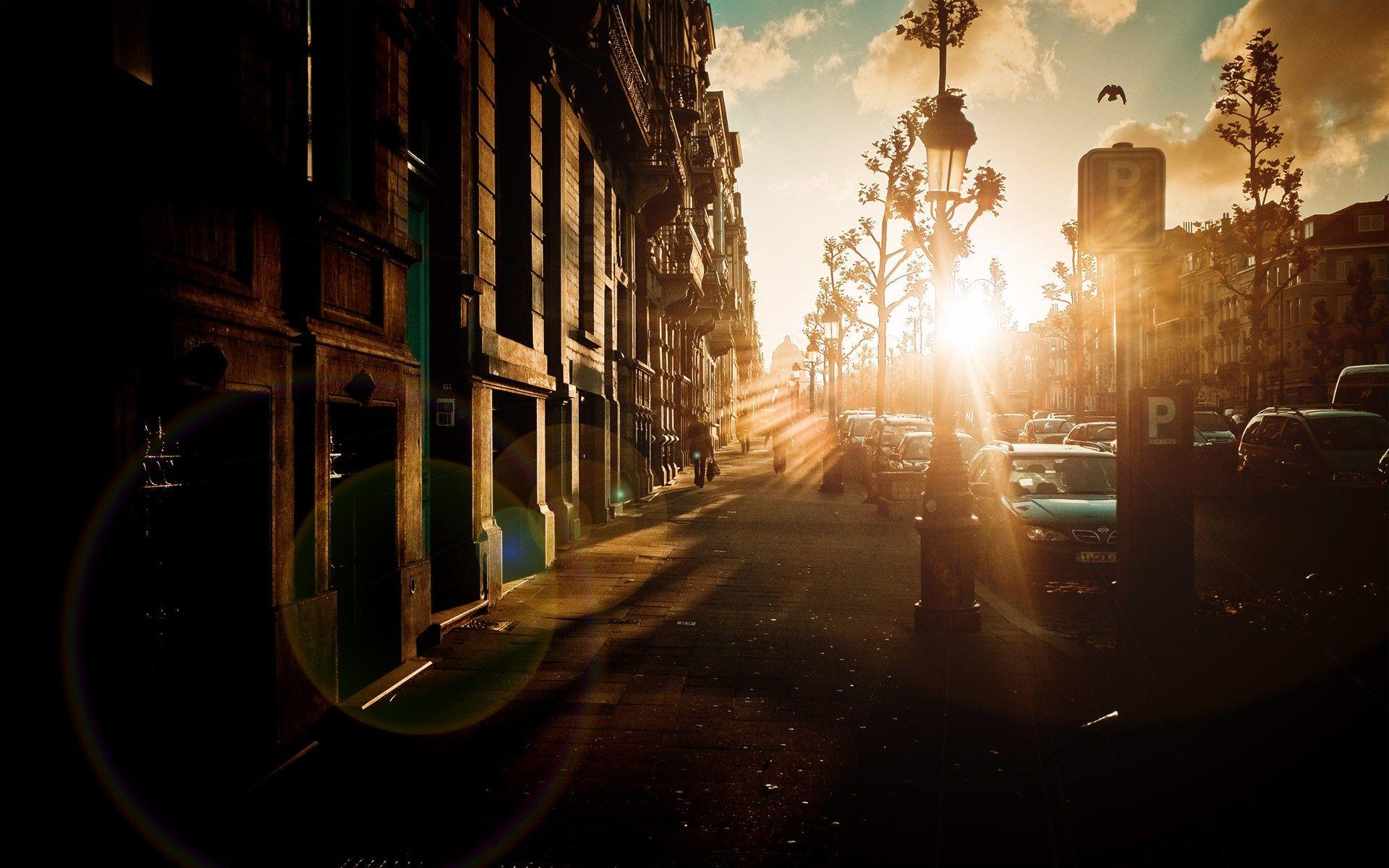 sunset cityscapes streets urban sunlight Belgium Brussels