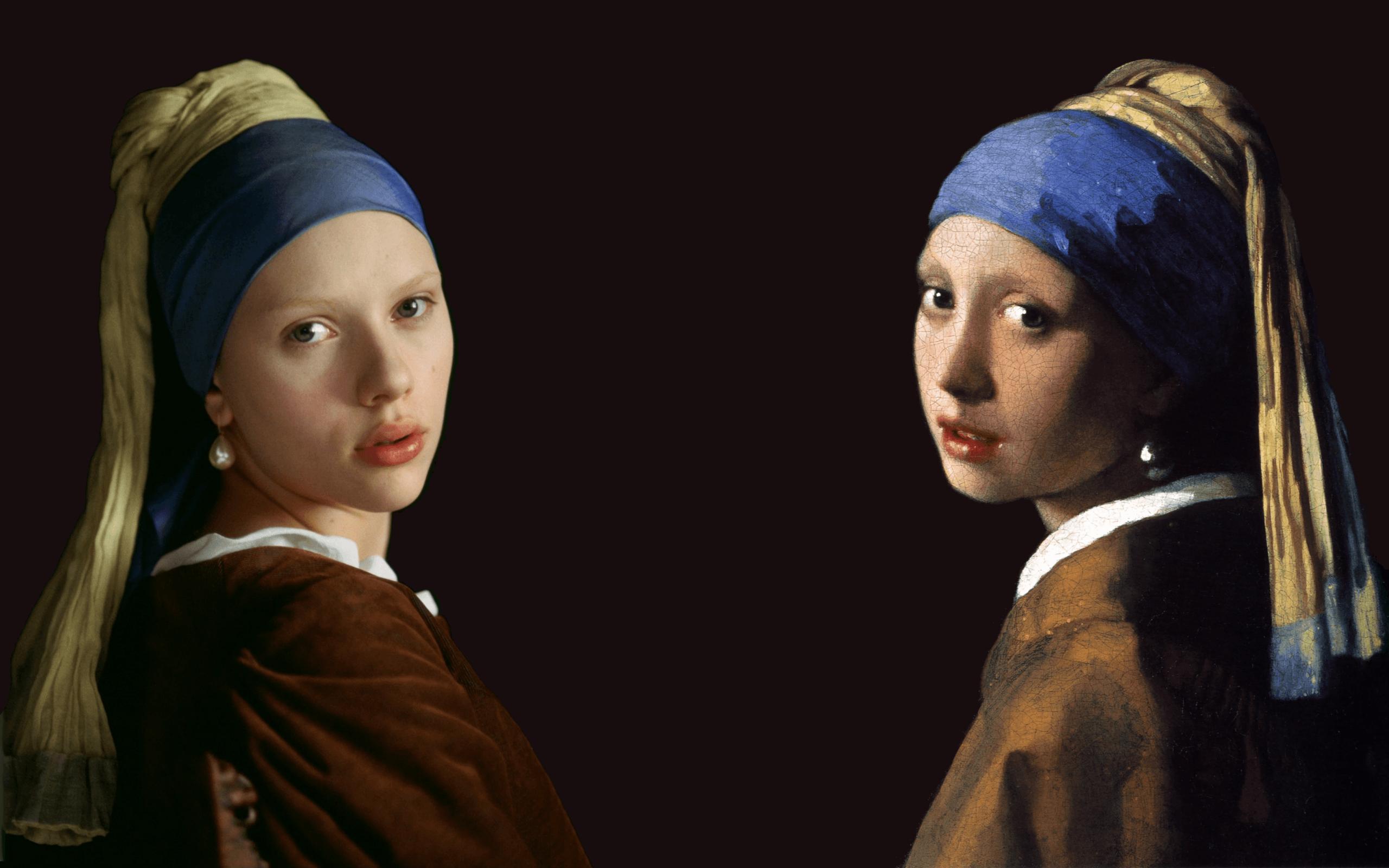 Paintings scarlett johansson artwork johannes vermeer the girl .