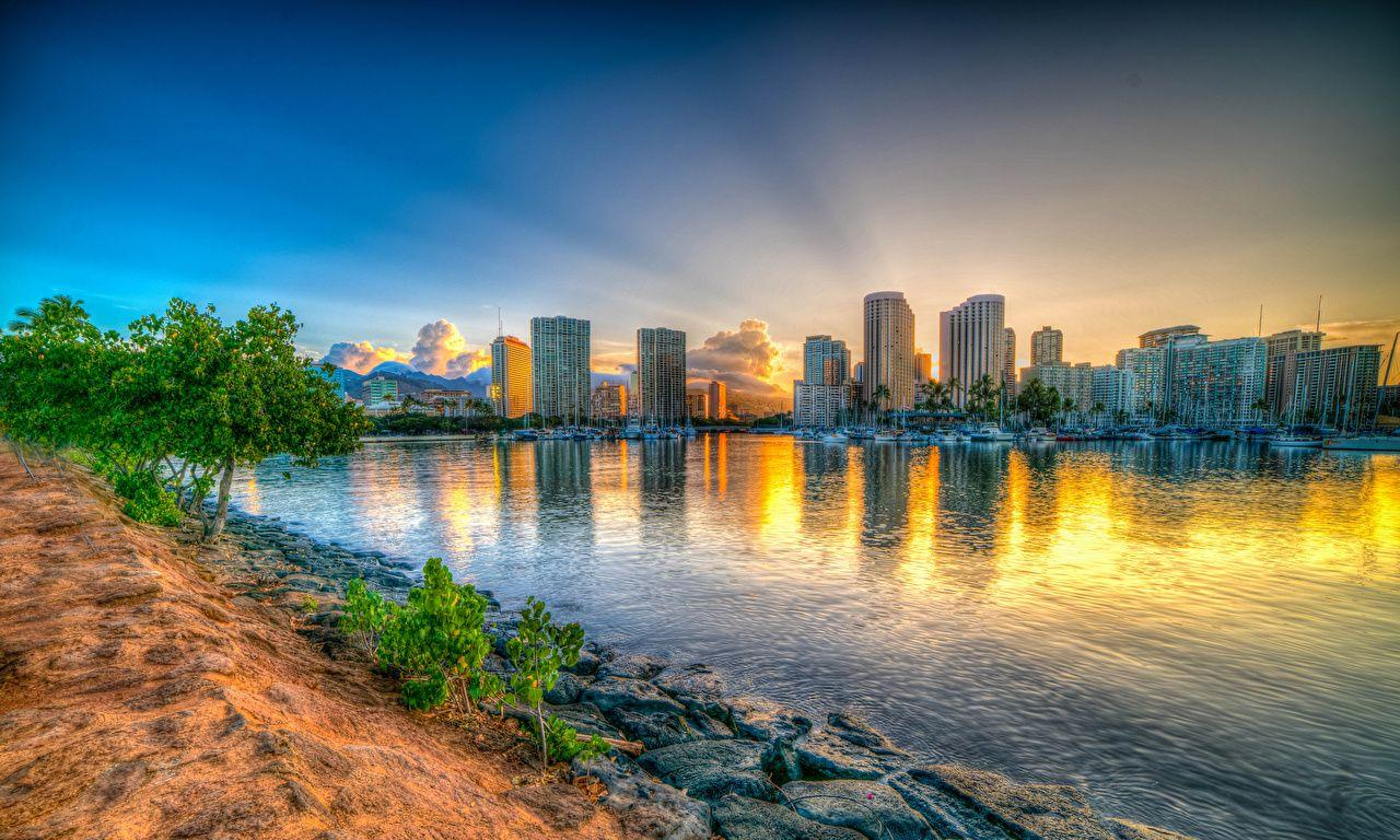 Wallpapers Hawaii Honolulu HDR Sunrises and sunsets Bay Coast Cities