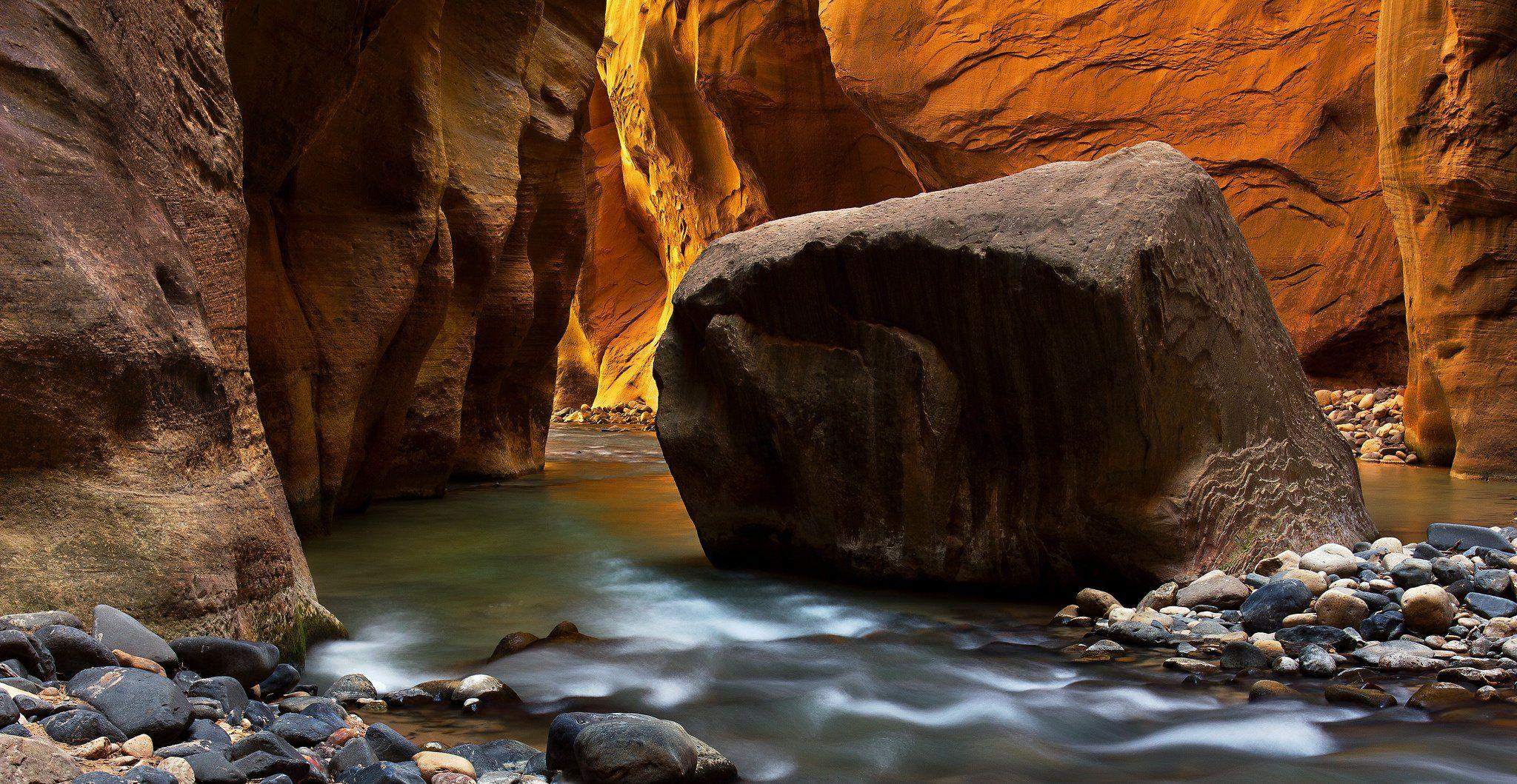 Zion National Park river stream rocks wallpaper | 2048x1059 ...