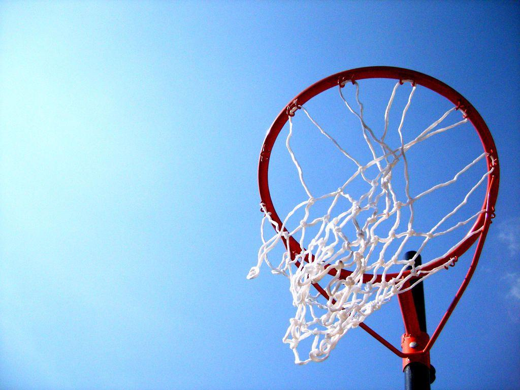 Netball ball and hoop