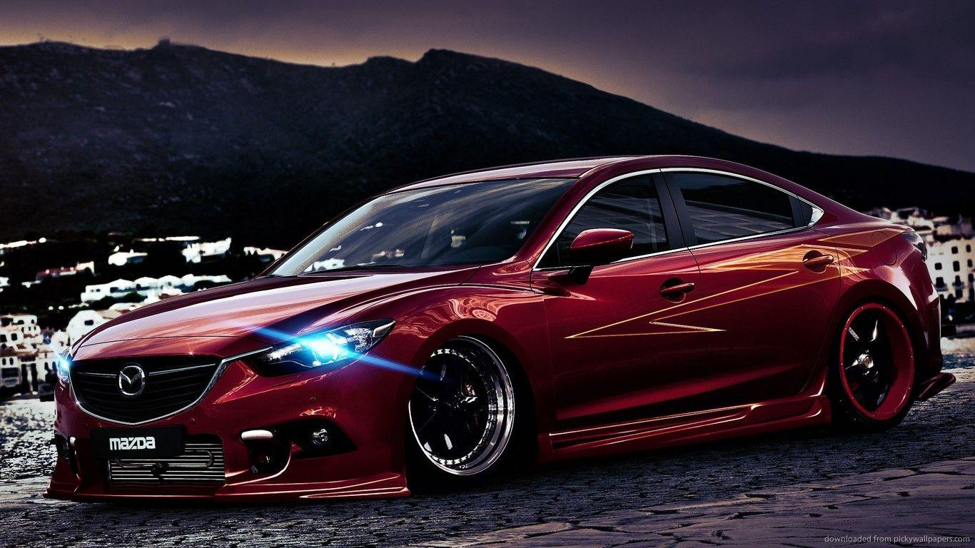 Download 1366x768 Red Tuned Mazda 6 Wallpaper