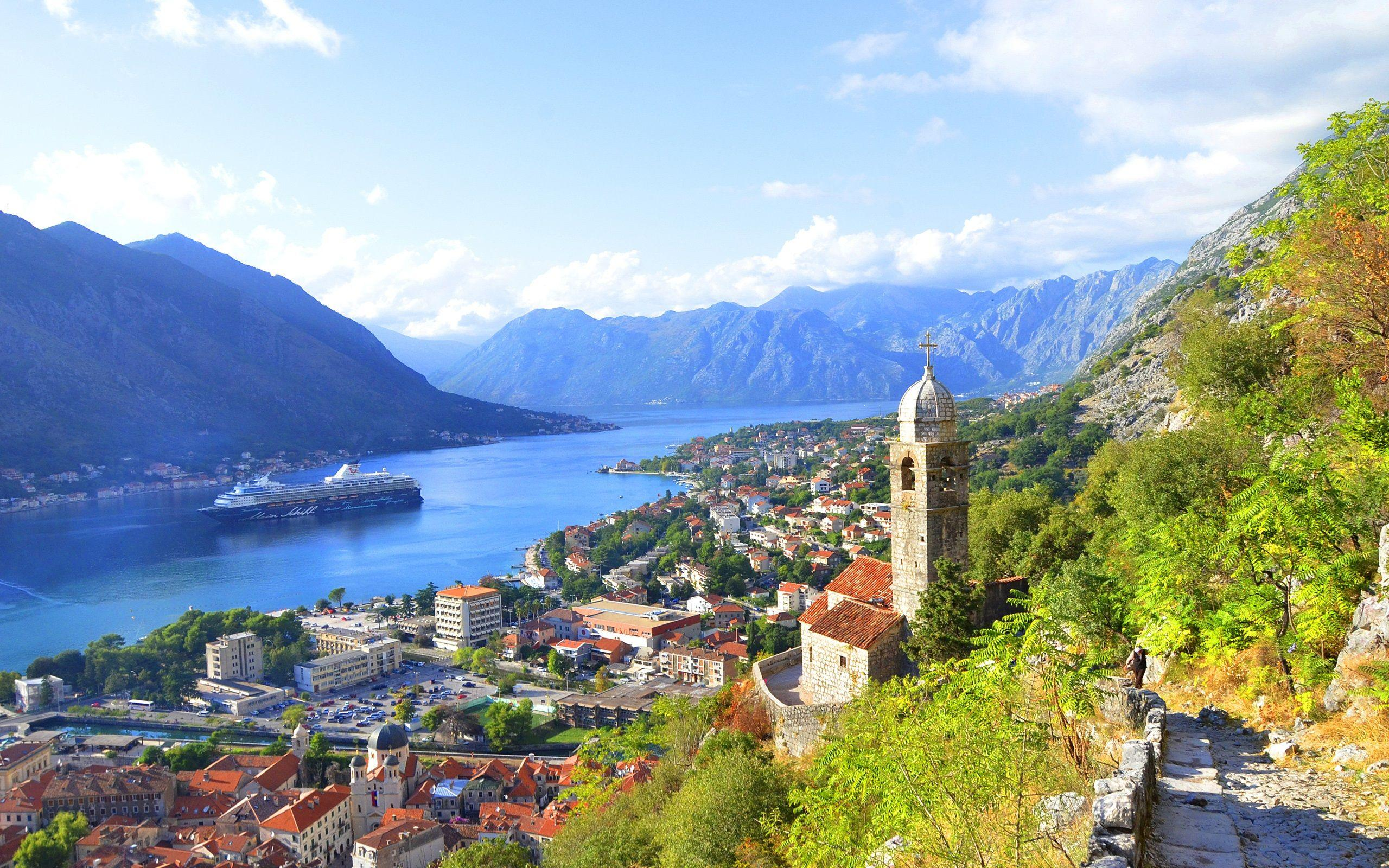 Kotor Bay, Montenegro, river, mountains, city, houses, clouds ...