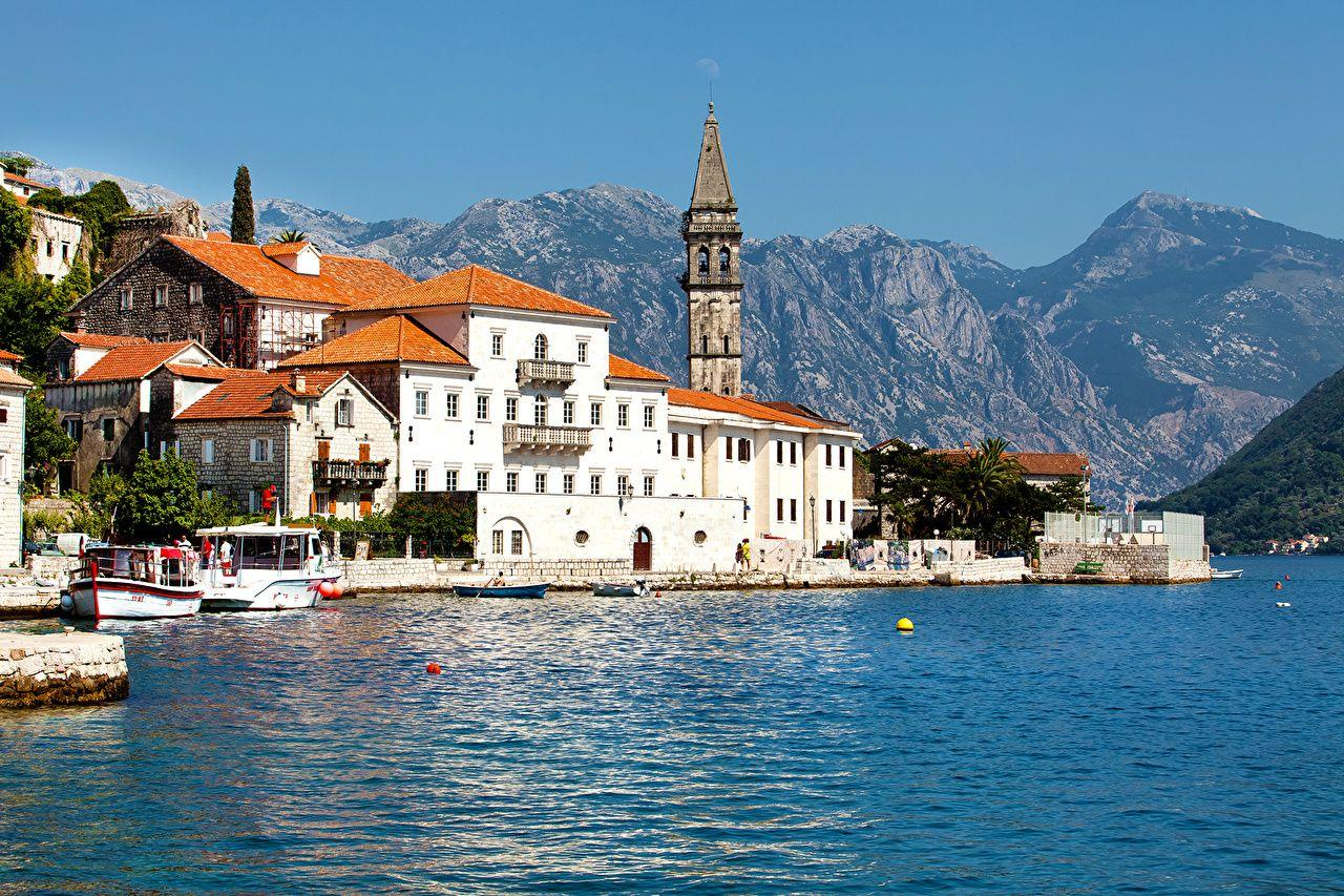 Wallpapers Montenegro Kotor bay Mountains Coast Cities Building