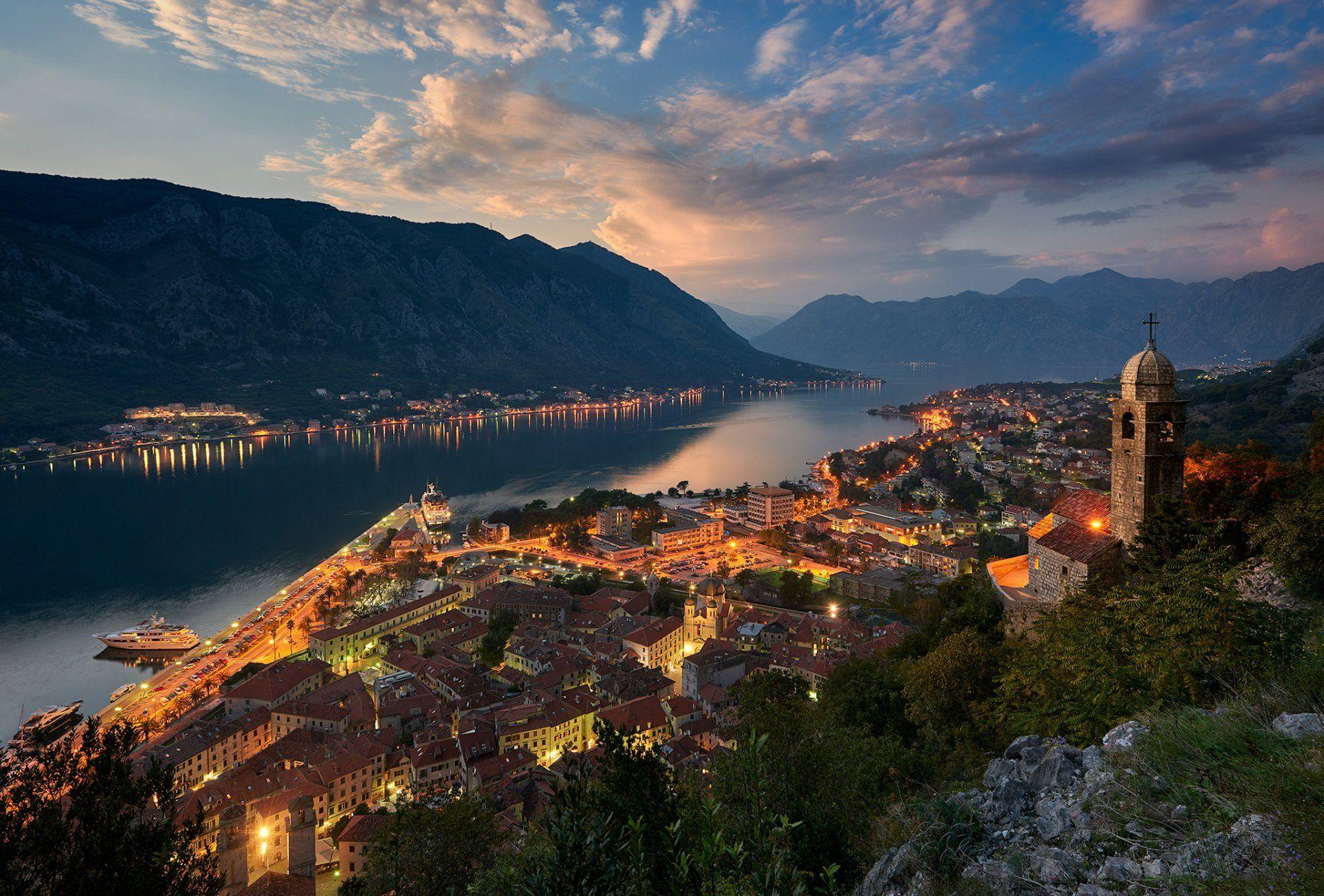 montenegro town which bay of kotor adriatic sea mountain house ...