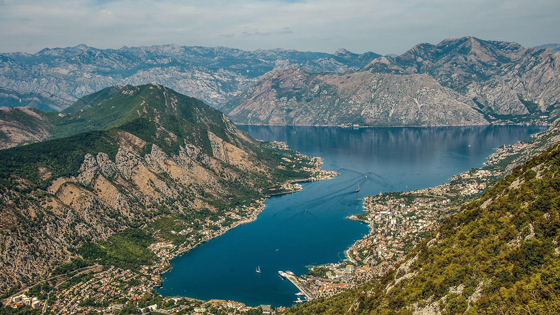 Picture Montenegro Kotor Nature Mountains Bay Houses 1920x1080