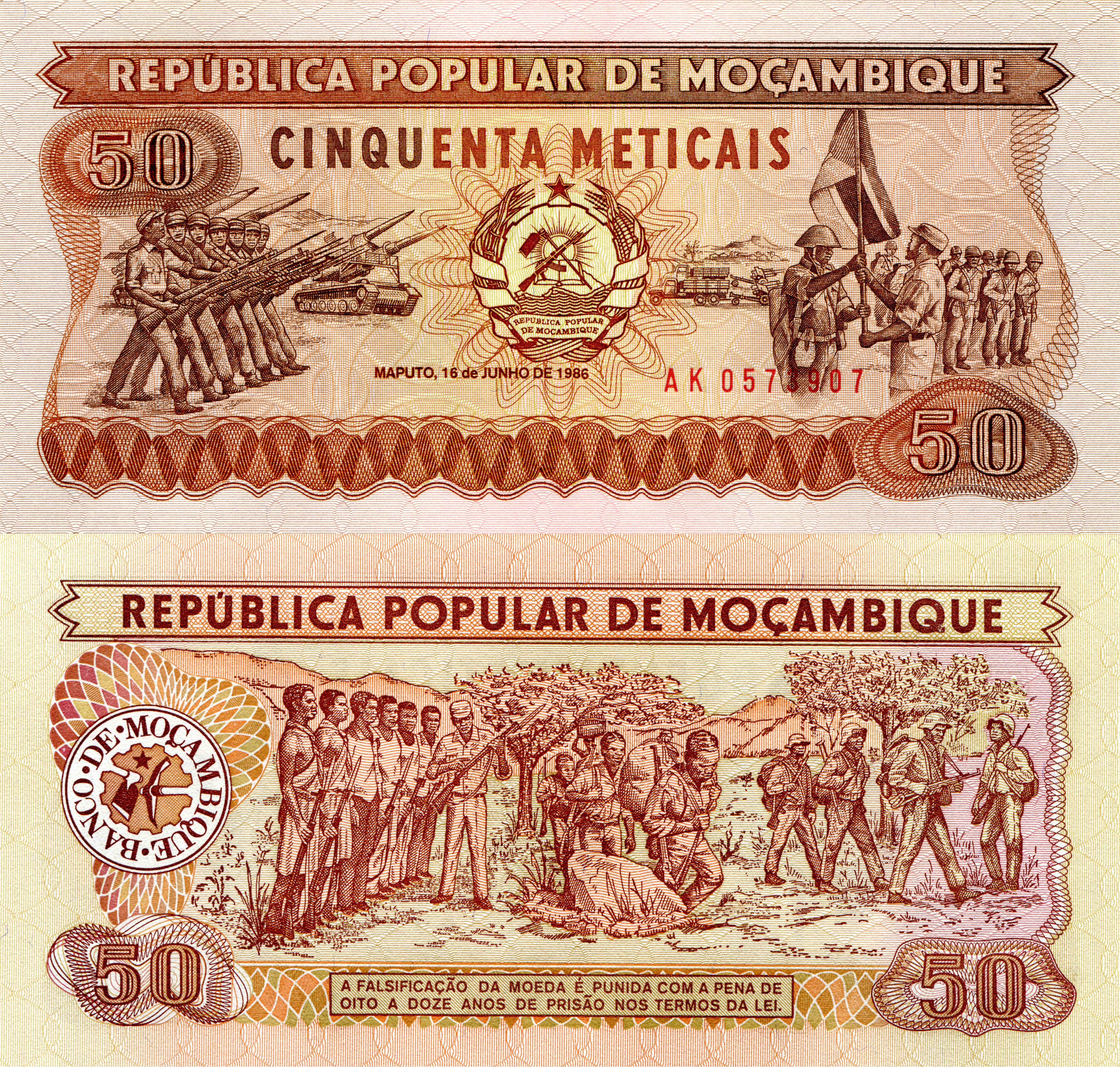 Photo Paper money 50 meticais Mozambique Money 6666x6349