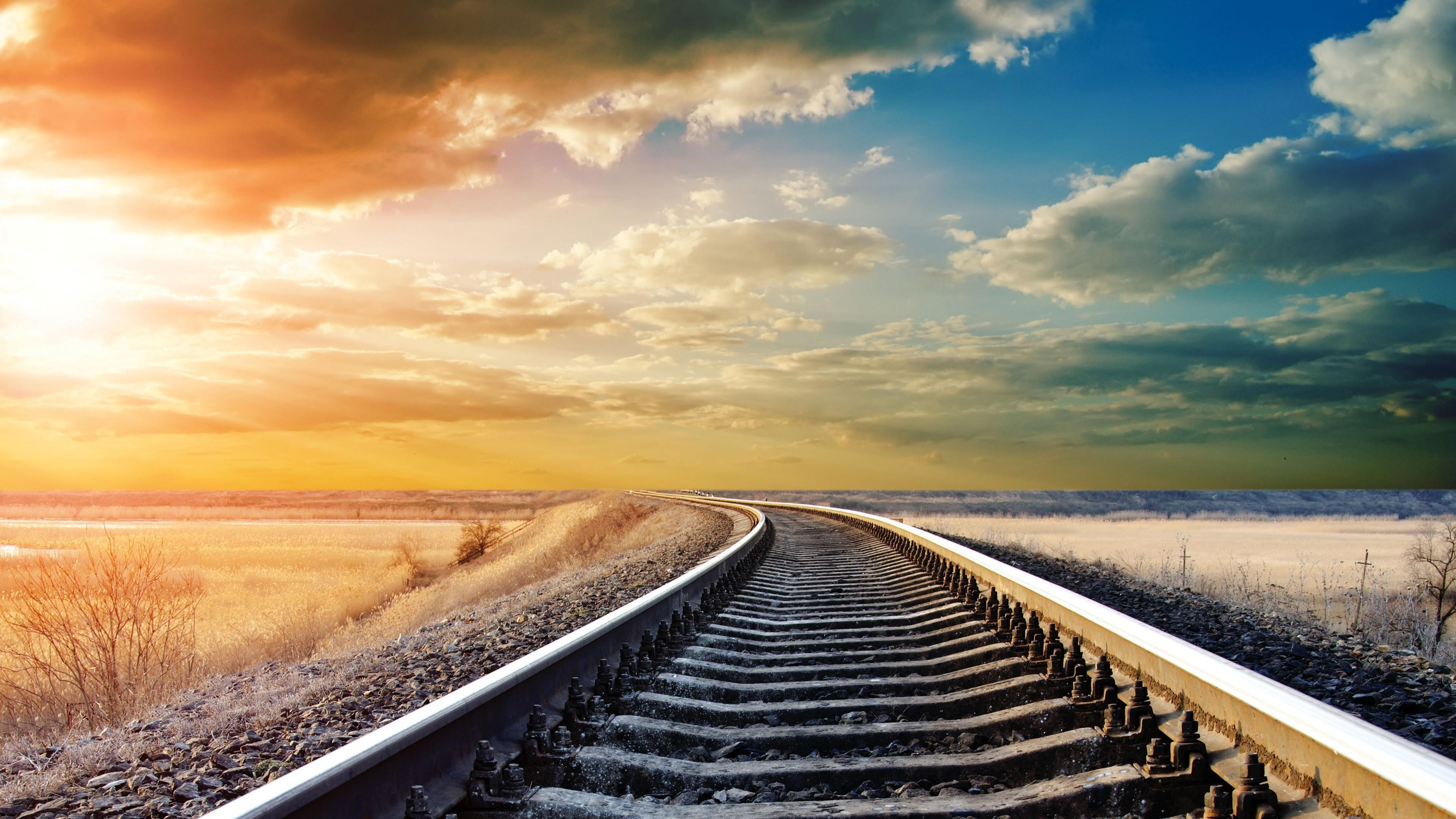 Endless Train Tracks In The Prairie Wallpaper | Wallpaper Studio ...