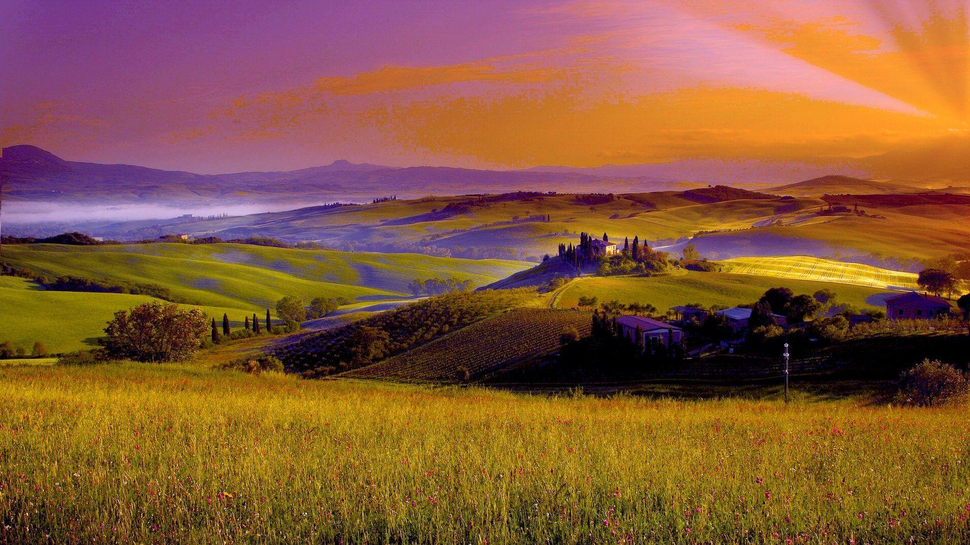 Sunset: EVENING TUSCANY PRAIRIE Sunset Scenery Wallpaper Photo for ...