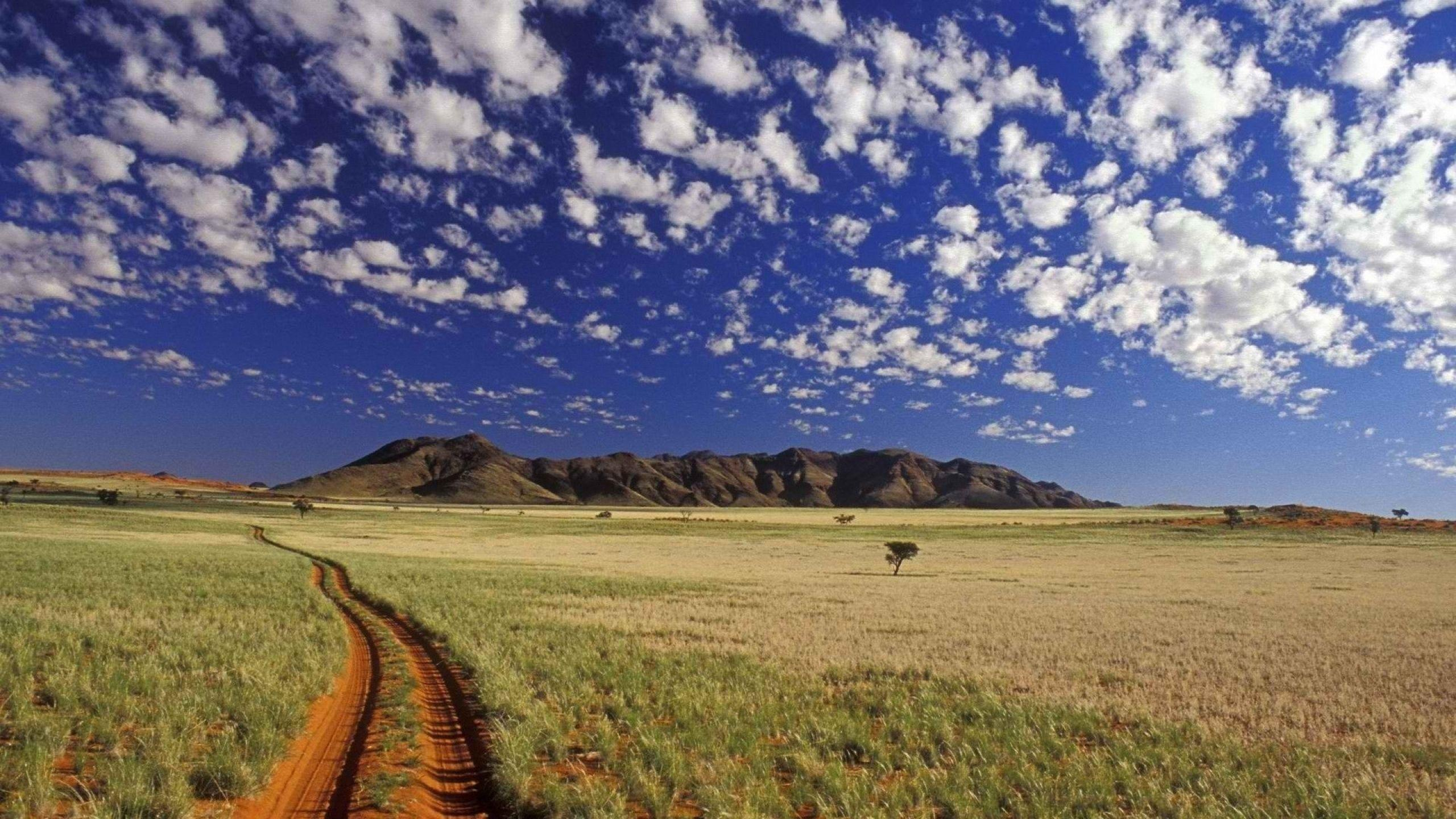 Download Wallpaper 2560x1440 Road, Dirt, Prairie, Clouds, Sky Mac ...