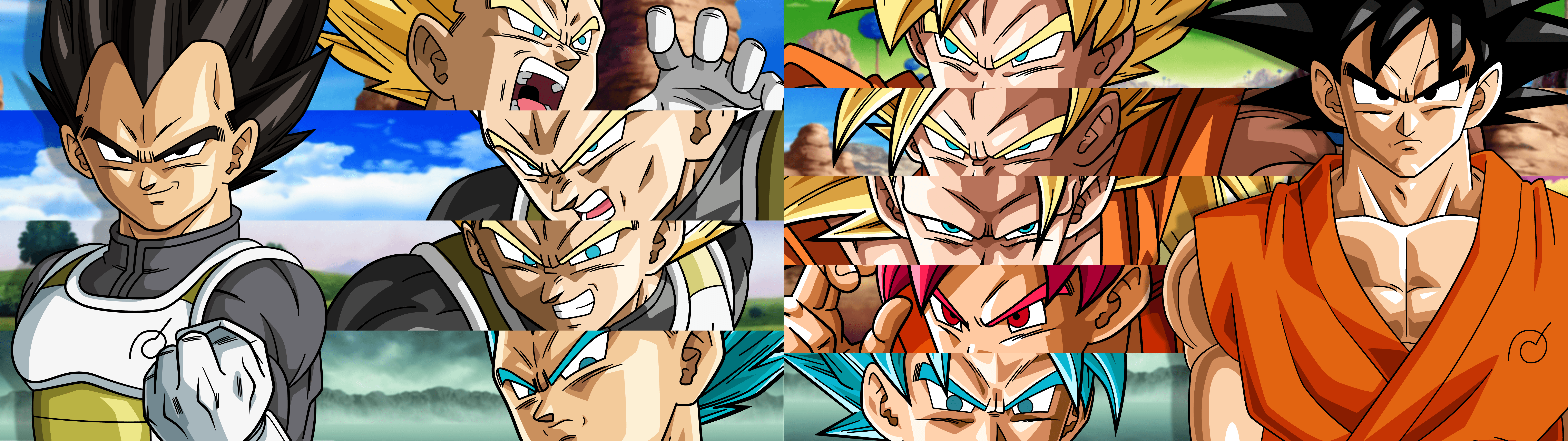 Vegeta and Goku All SSJ Forms (4K Dual Wallpaper) by ...