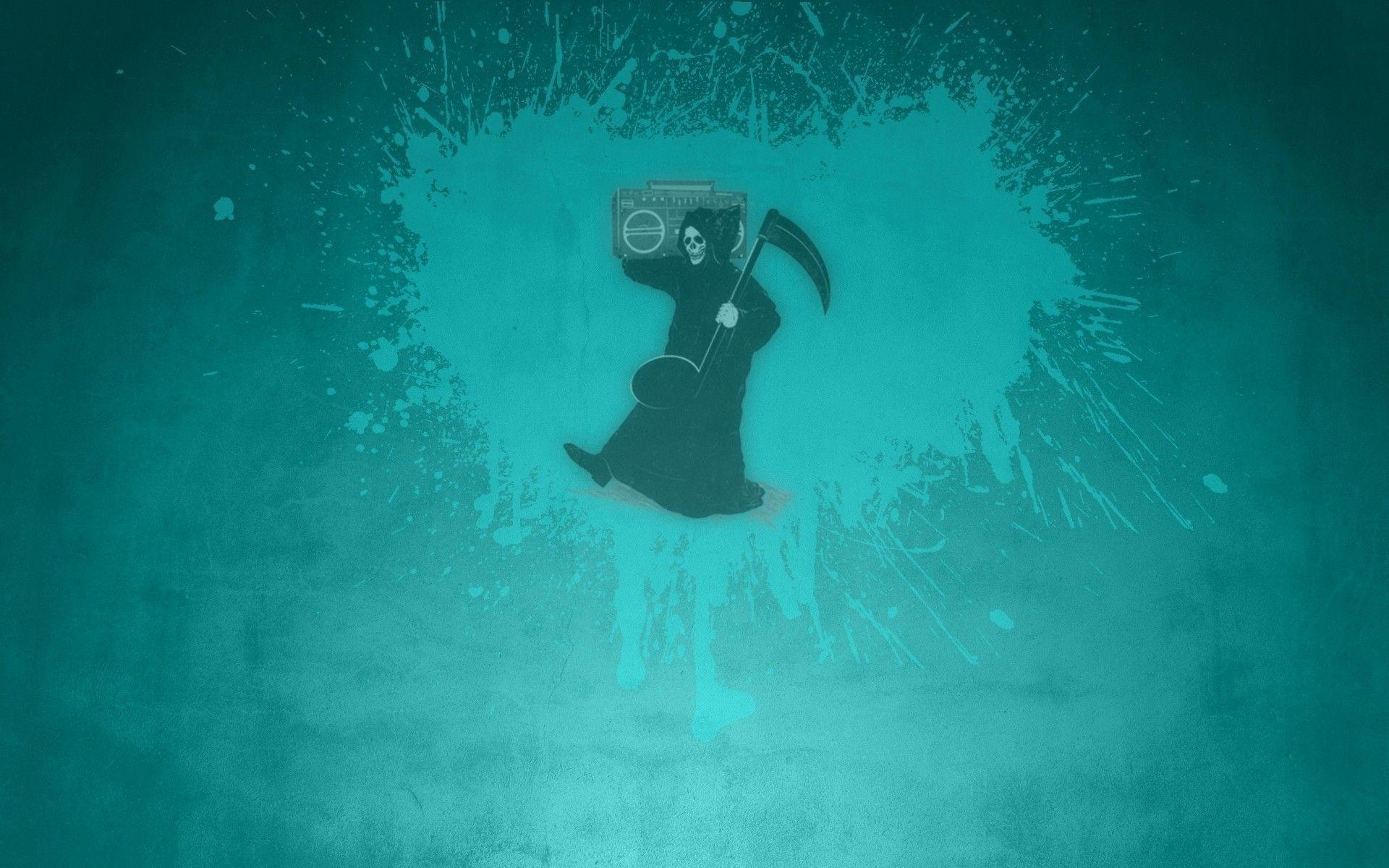 Death with a tape recorder, blue background wallpapers and images ...