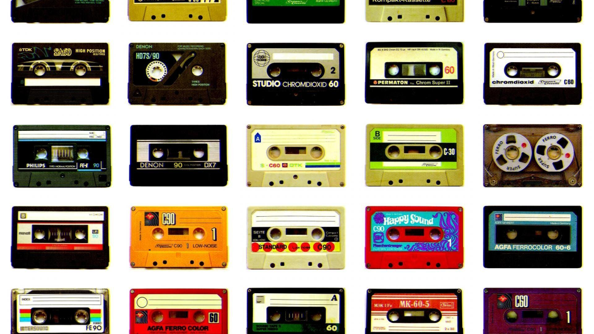 Audio Tapes Cassette Grey Background Minimalistic - WallDevil