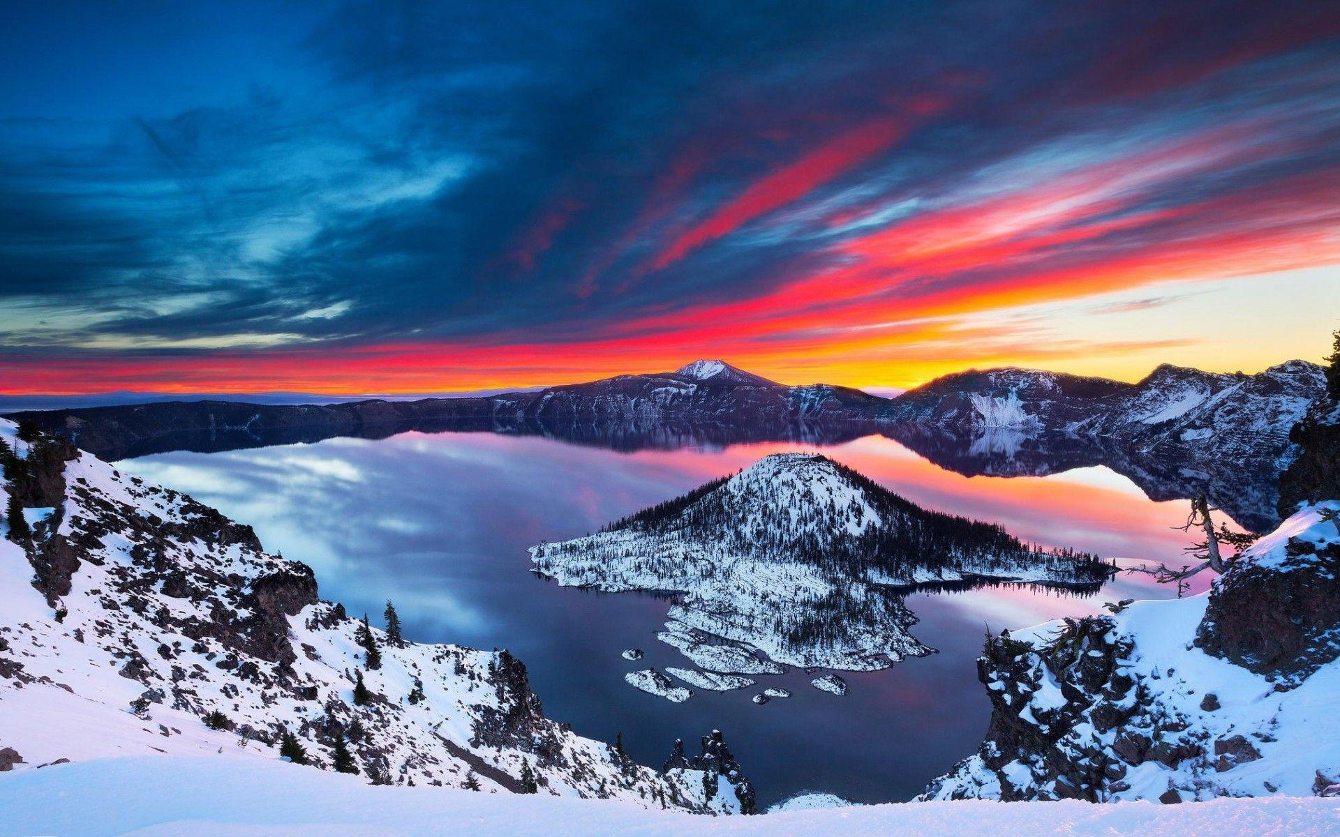 Wallpaper Crater Lake National Park, Cascade Mountains, HD, Nature ...