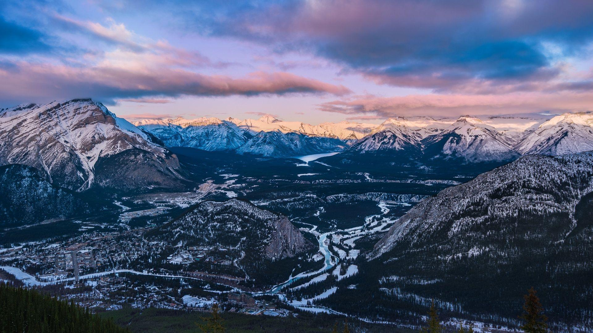 Sunset Sulphur Mountain Banff National Park Wallpapers in jpg ...