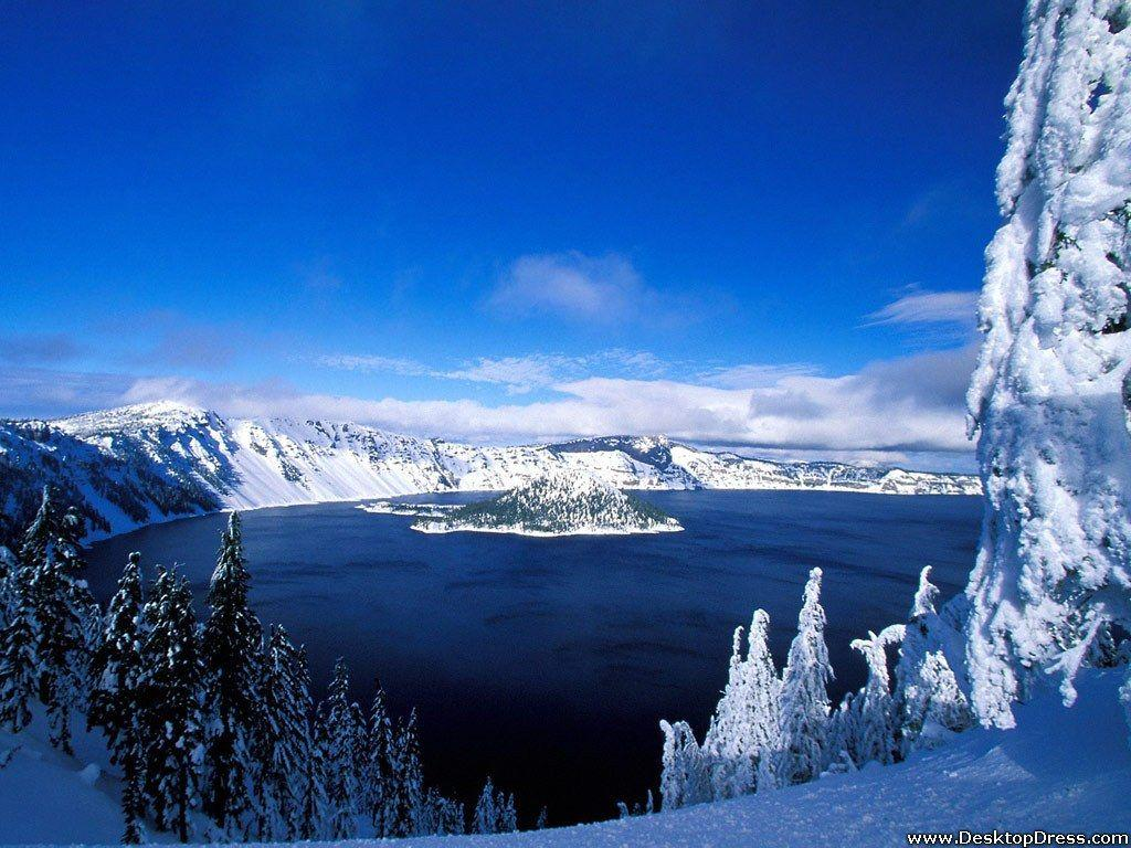 Desktop Wallpapers » Natural Backgrounds » Crater Lake in Winter ...
