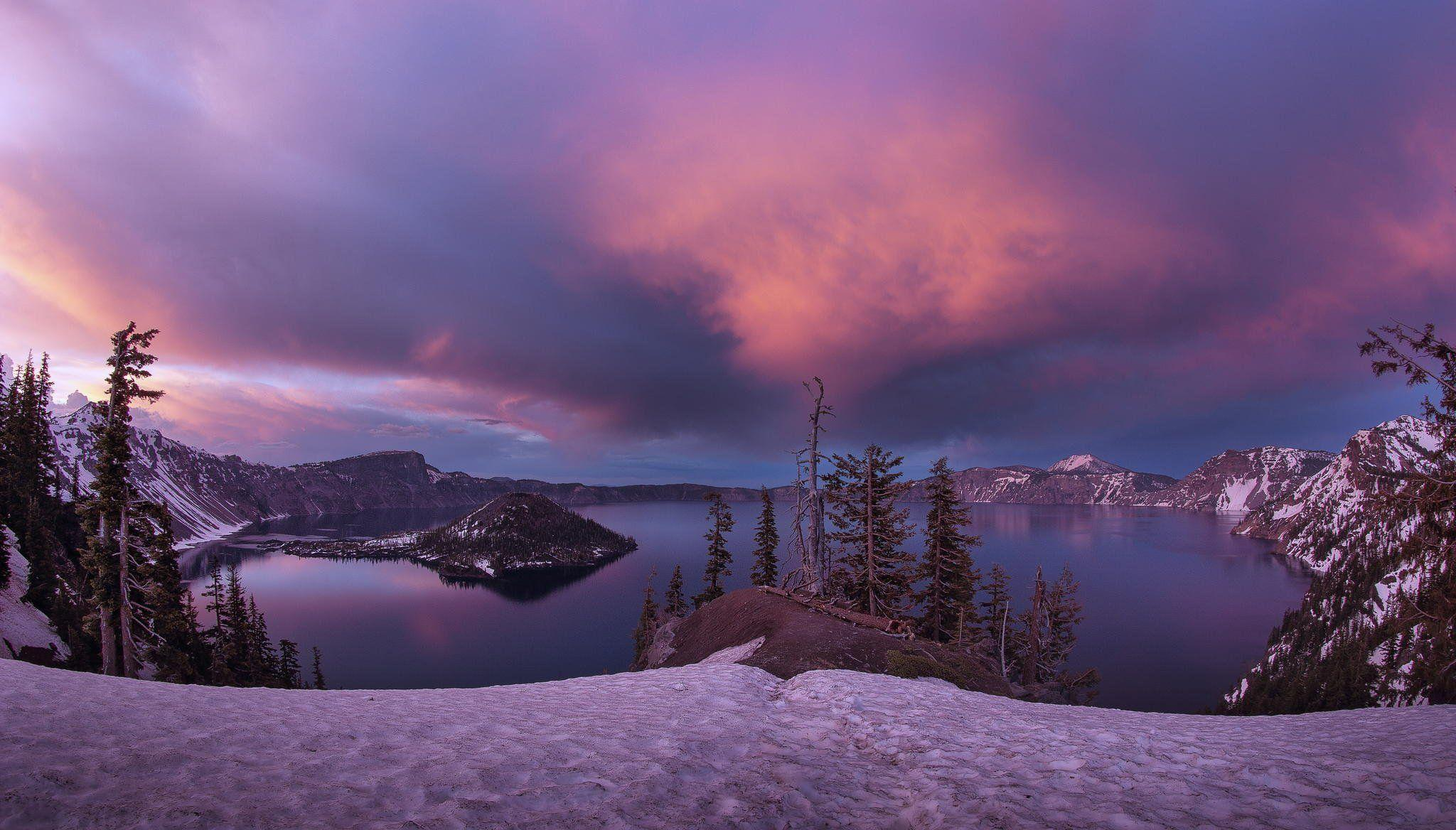 lake island crater winter snow sunset crater lake national park ...