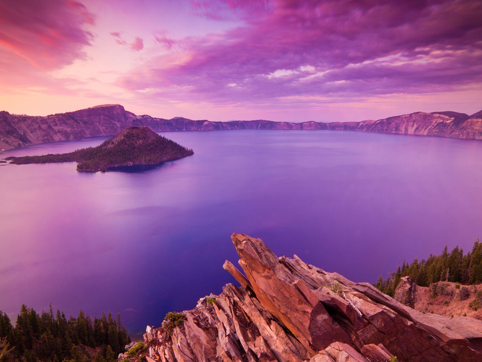 Sunset At Crater Lake National Park Oregon Full Hd Wallpapers ...