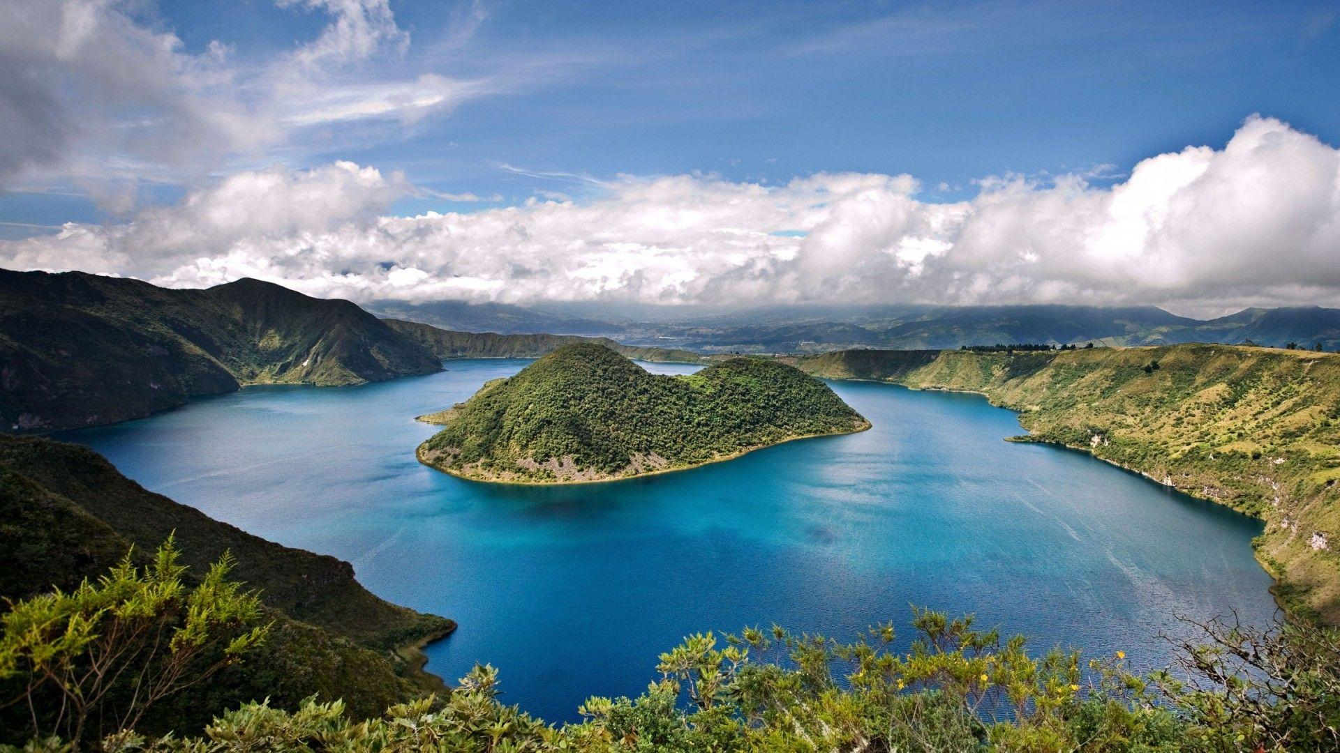 A Wonderful Lake With Turquoise Blue Water Island Mountains With ...