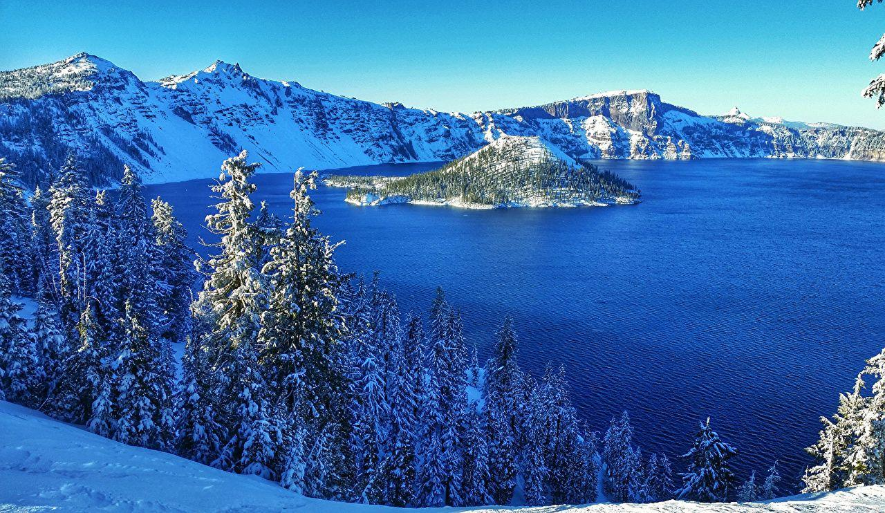 Images USA Crater Lake National Park Nature Spruce Winter Snow Parks