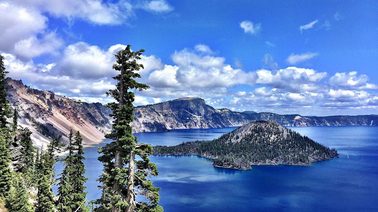 Images USA Crater Lake National Park Oregon Nature Mountains Sky