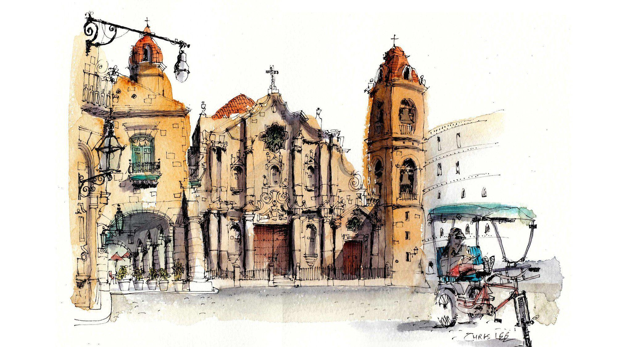 havana cuba cathedral house street picture paint HD wallpapers