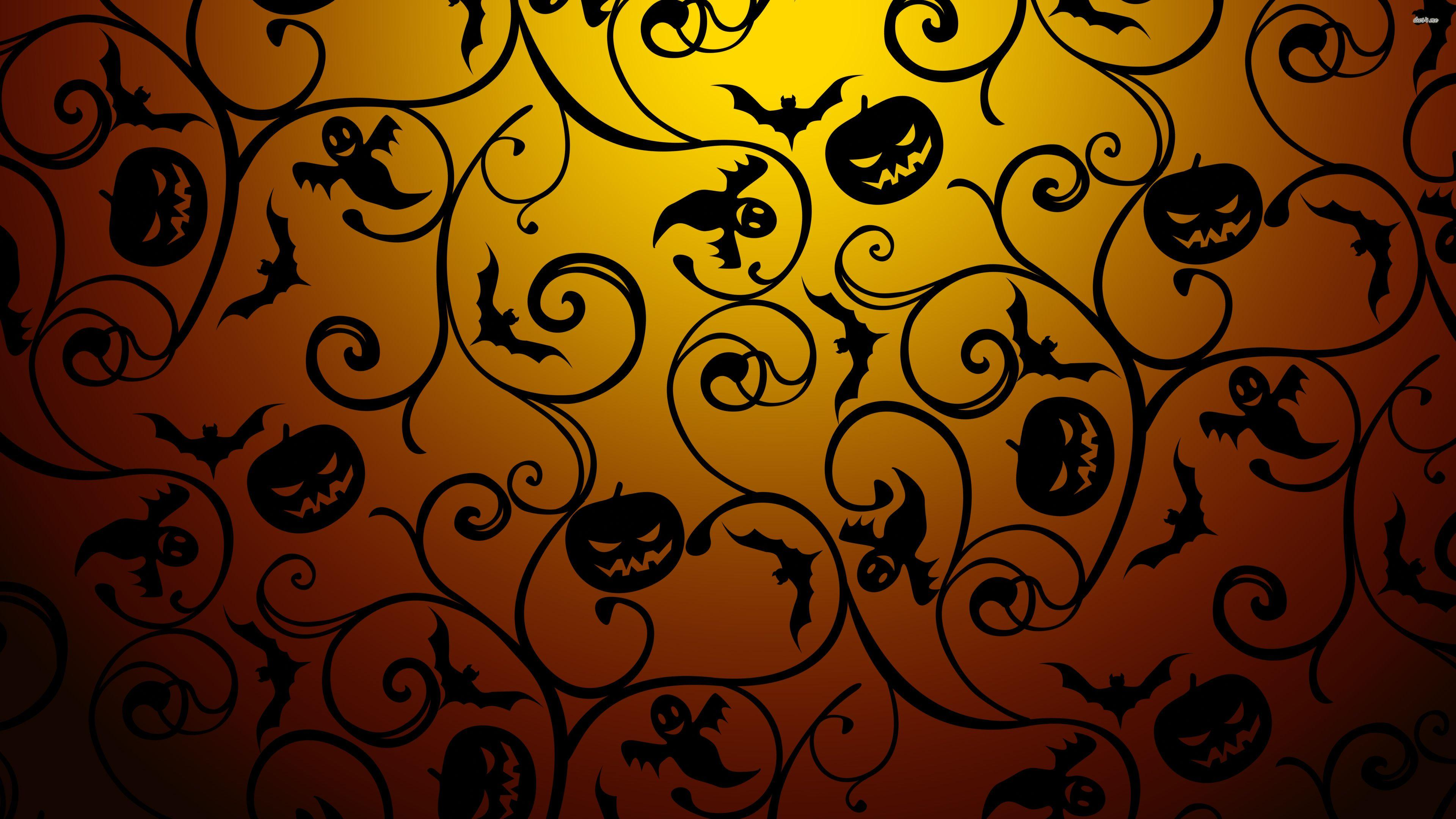44556-black-halloween-pattern-3840×2160-holiday-wallpaper ...