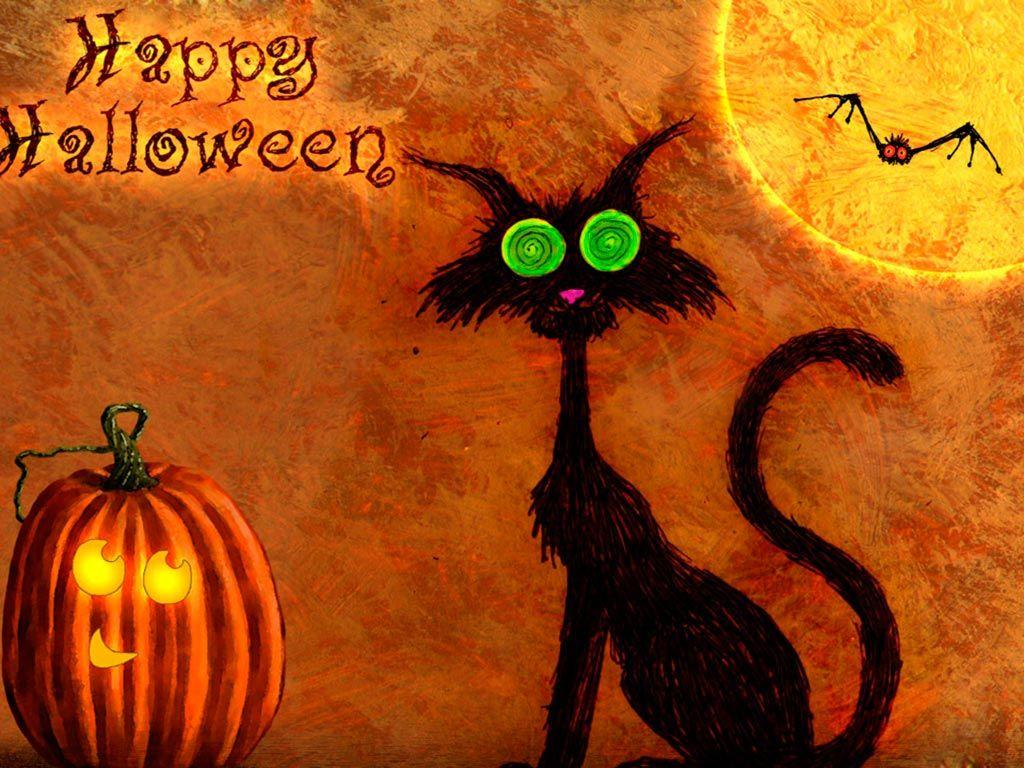 Happy Halloween Black Cat And Pumpkin Wallpaper Images, Pictures ...