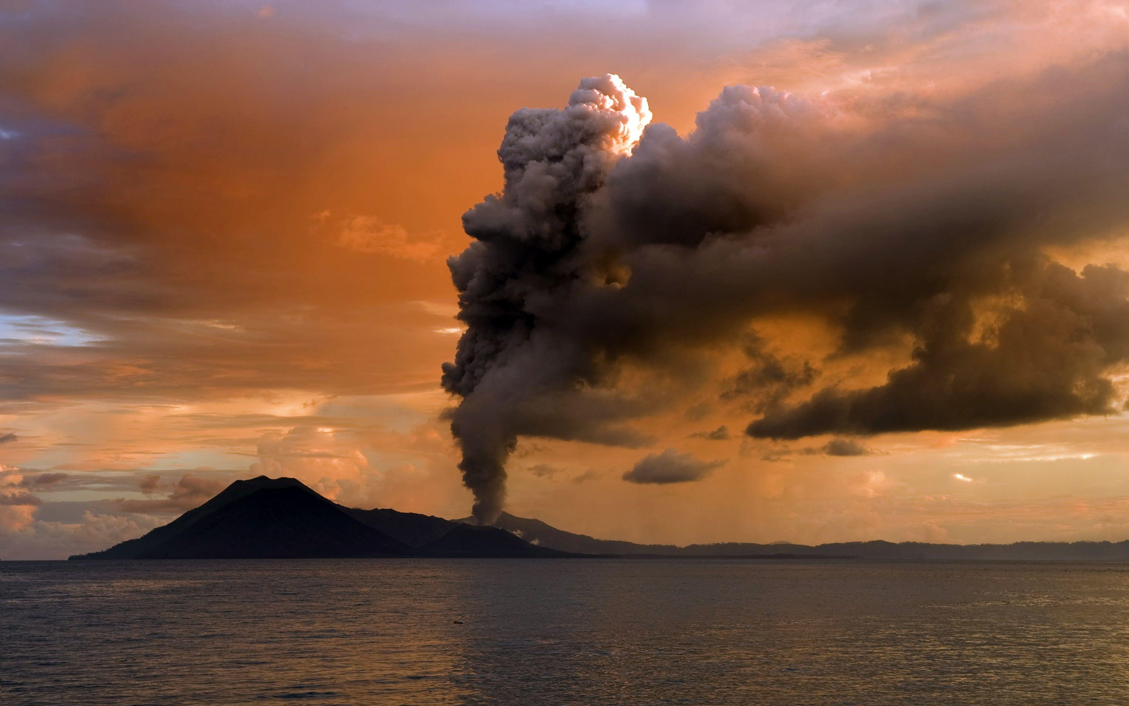 volcano, Landscape, Clouds, Sunset, Sea, Eruption Wallpapers HD ...