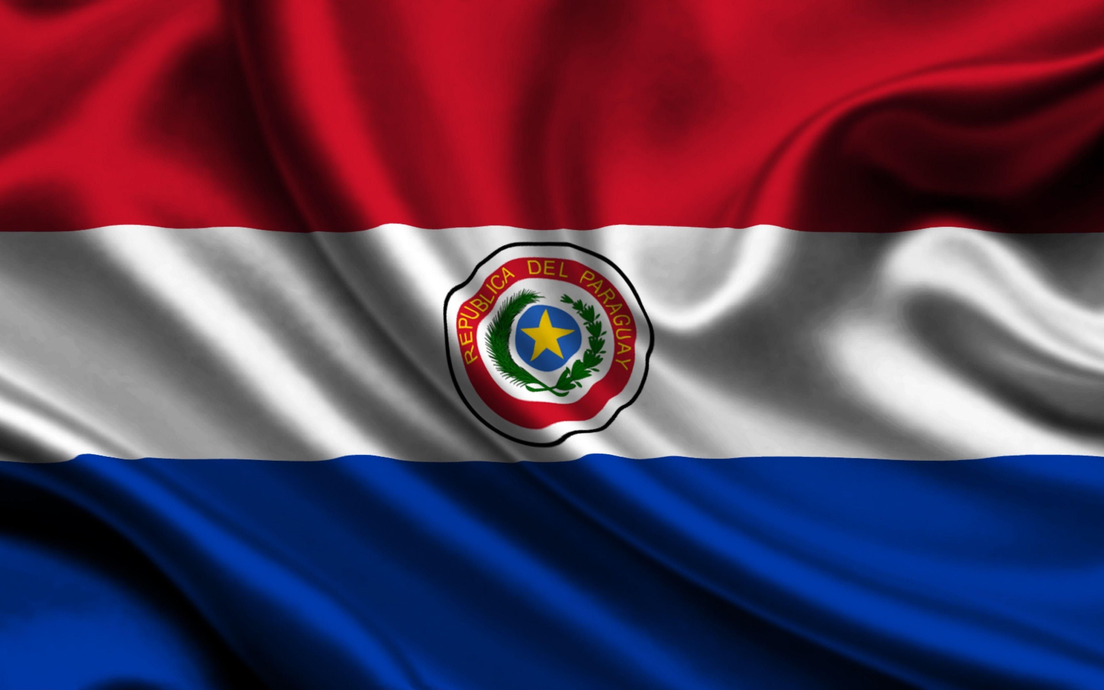 Download Wallpapers 3840x2400 Paraguay, Satin, Flag, Symbol, Star