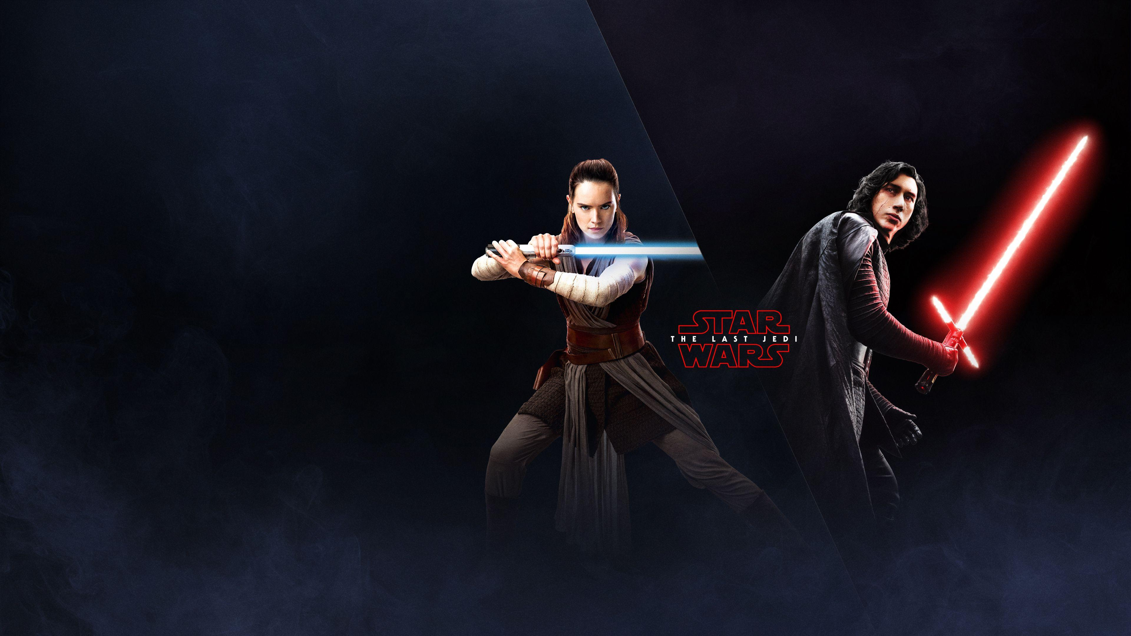 The Last Jedi Wallpapers Rey and Kylo Ren EA Battlefront 2 Poster