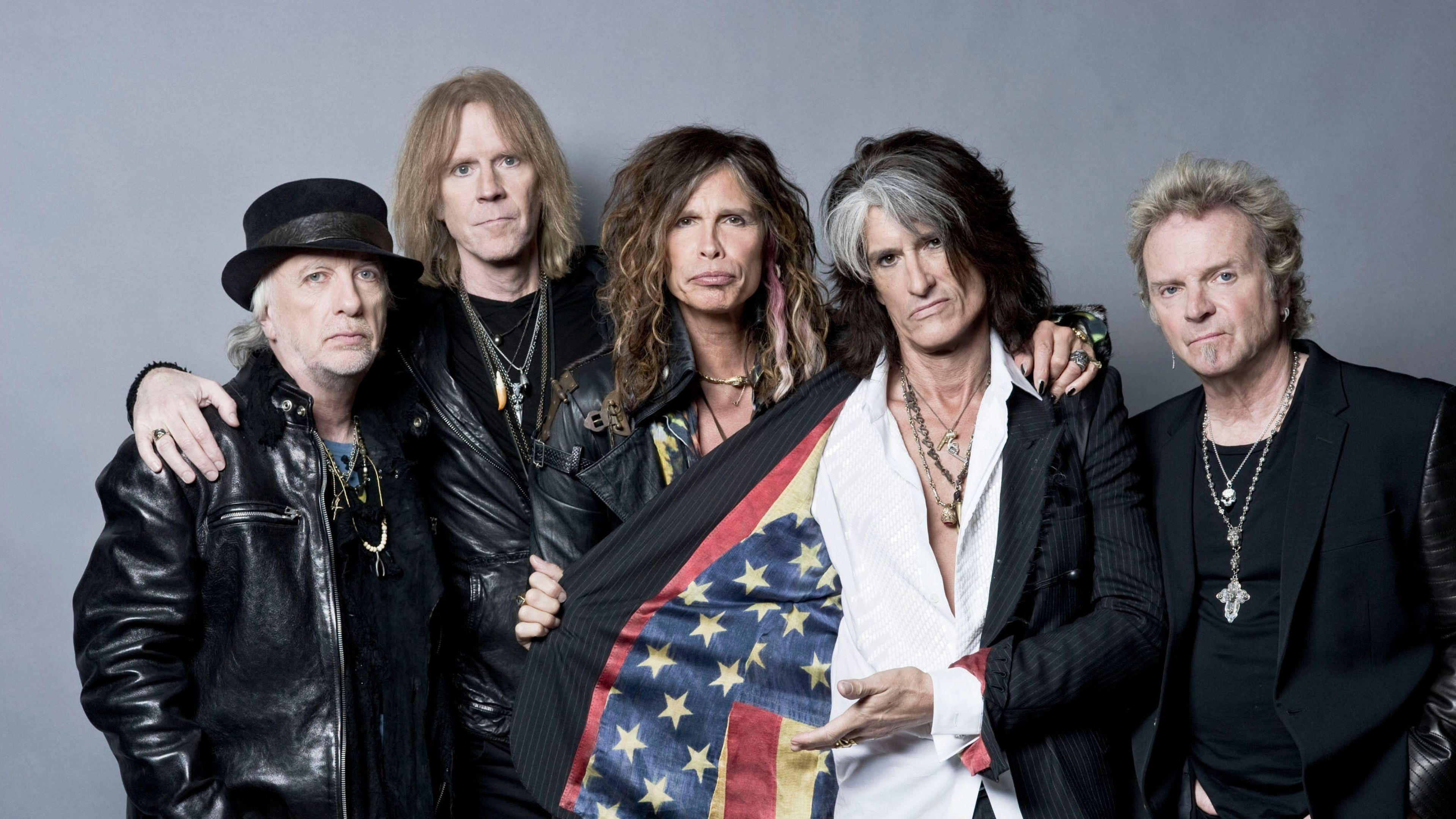 Download Wallpapers 3840x2160 Aerosmith, Rock band, Steven tyler