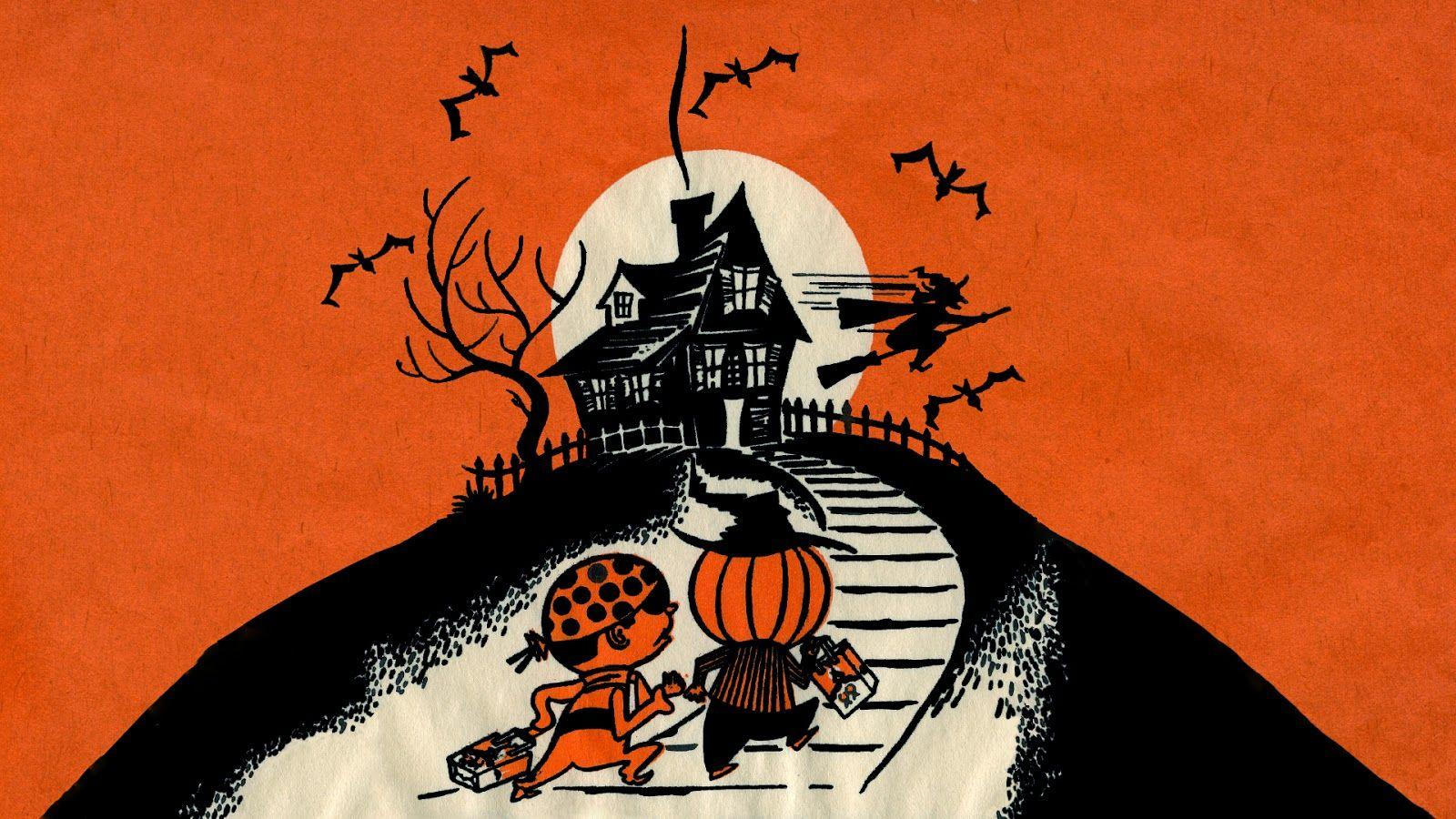 Neato Coolville: HALLOWEEN WALLPAPER: UP THE HILL TRICK OR TREAT