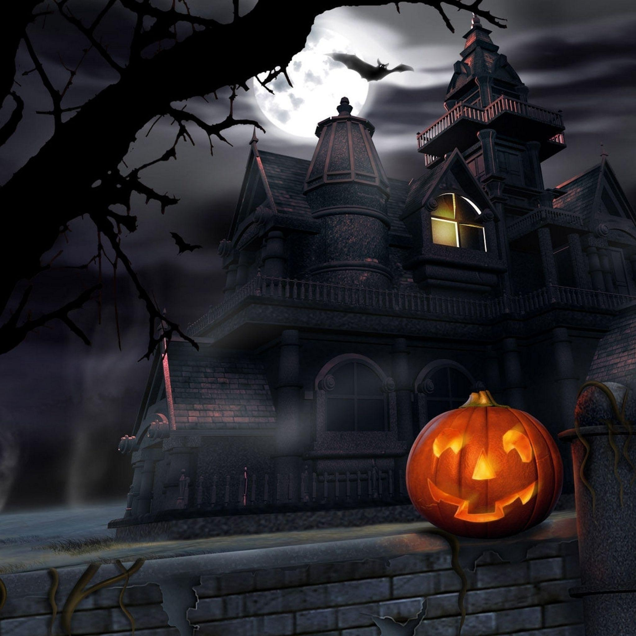 haunted house halloween party trick or treat iPad Air Wallpapers