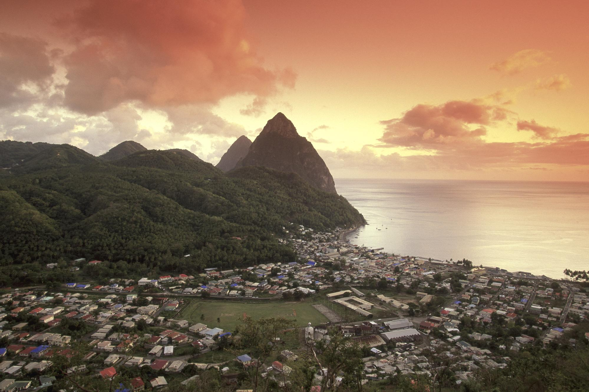 Download Sunset View of the Pitons and Soufriere, St. Lucia ...