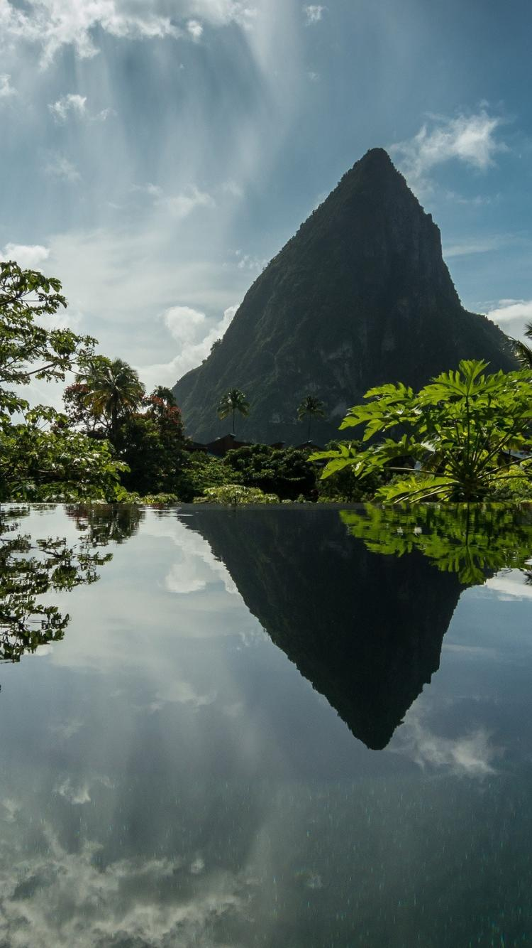 Caribbean landscapes mountains reflections saint lucia wallpapers