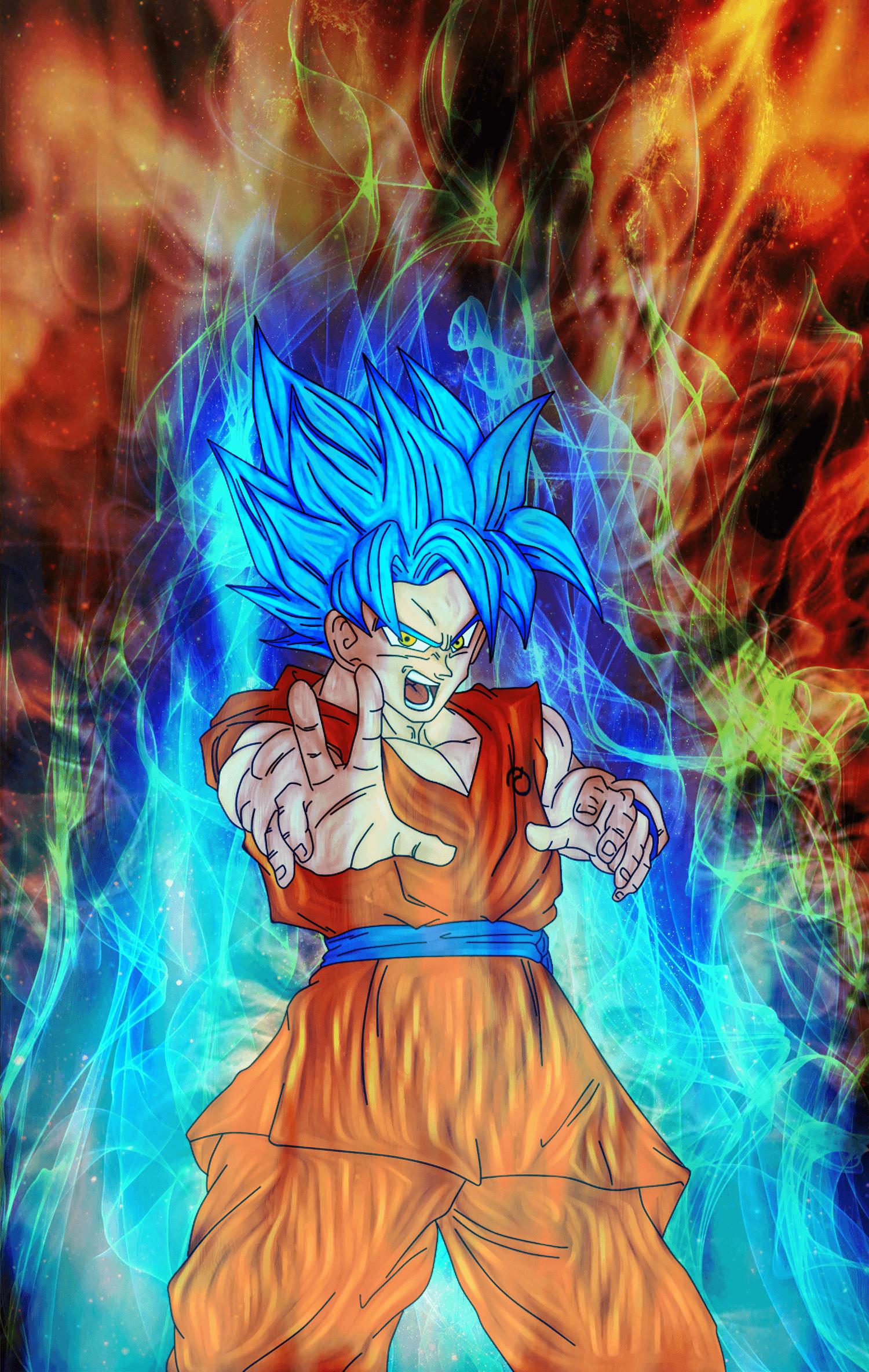 Goku Super Saiyan 3 Blue And Gold Wallpapers Wallpaper Cave