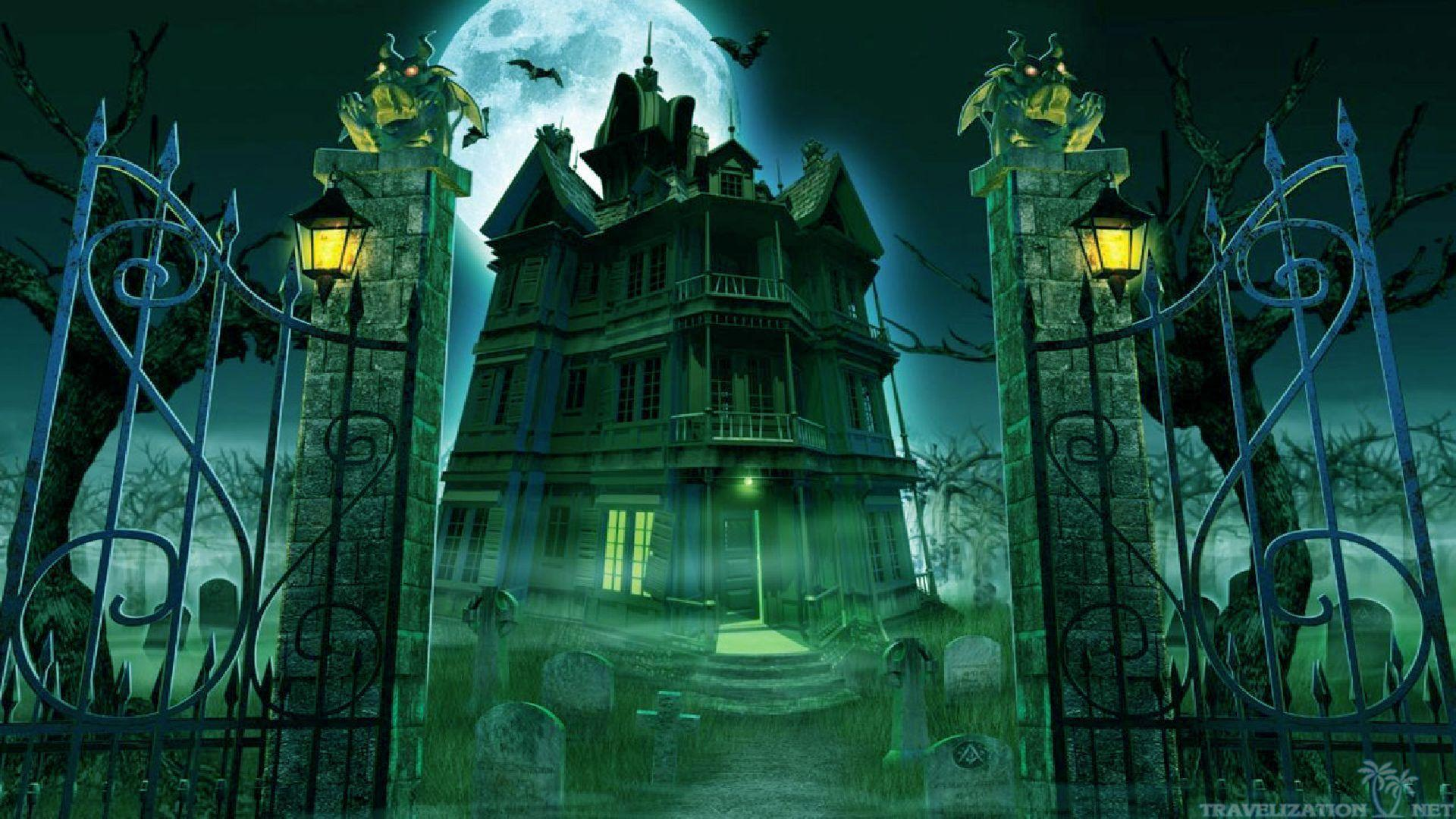Halloween creepy house wallpapers wallpaper cave - Scary animated backgrounds ...