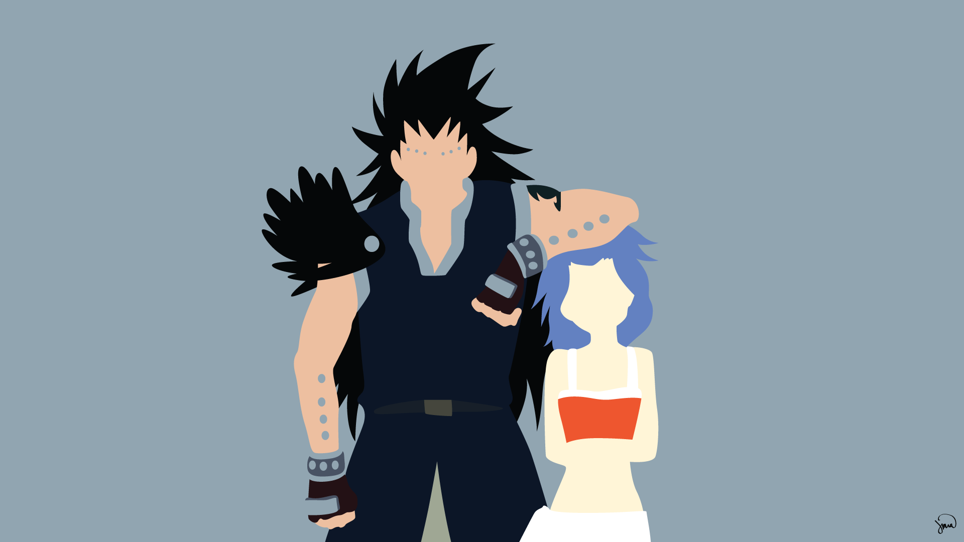 Gajeel and Levy Fairy Tail Minimalistic Wallpapers by greenmapple17
