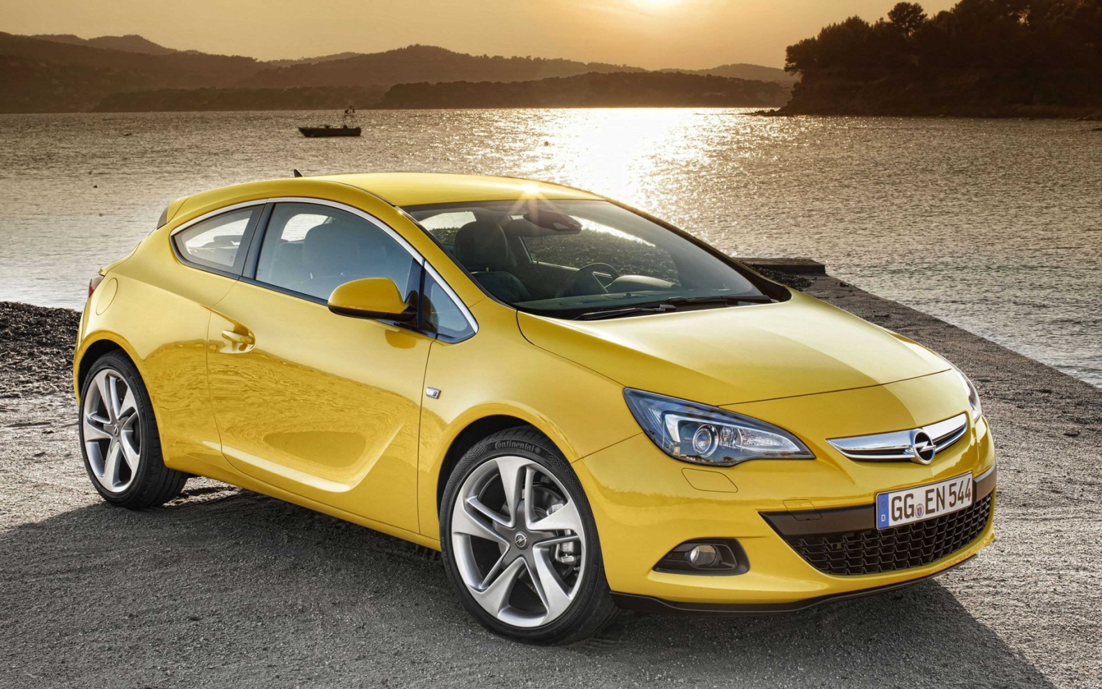 Download Wallpapers 3840x2400 Opel, Astra, Gtc, Yellow, Side view